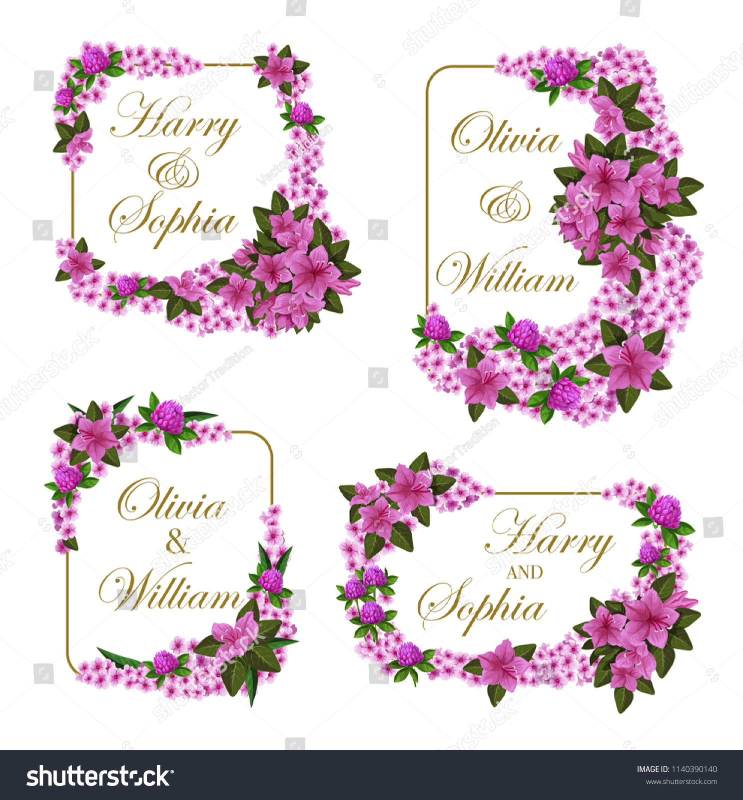 Wedding Greeting Cards Lilac Violet Flowers Stock Vector Royalty