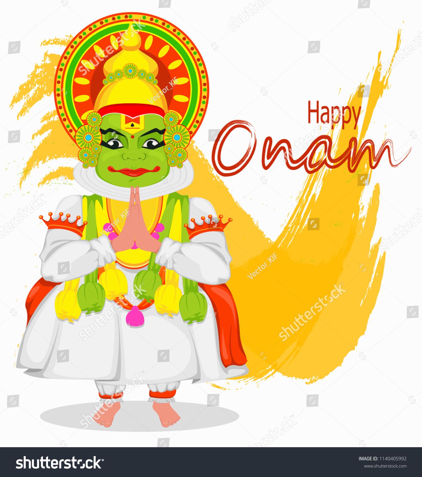 Kathakali Dancer Happy Onam Festival South Stock Illustration