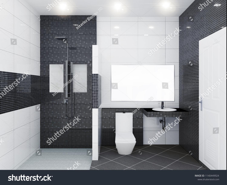 Black Mosaic Tile White Glossy Tile Stock Illustration 1140449924