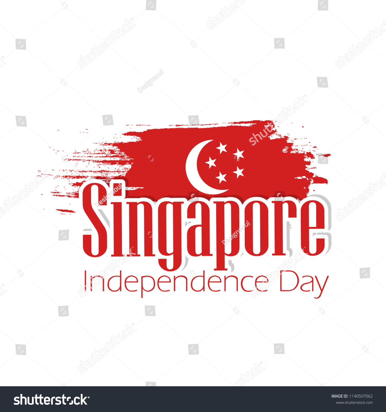 Creative Abstract Poster Singapore Independence Day Stock