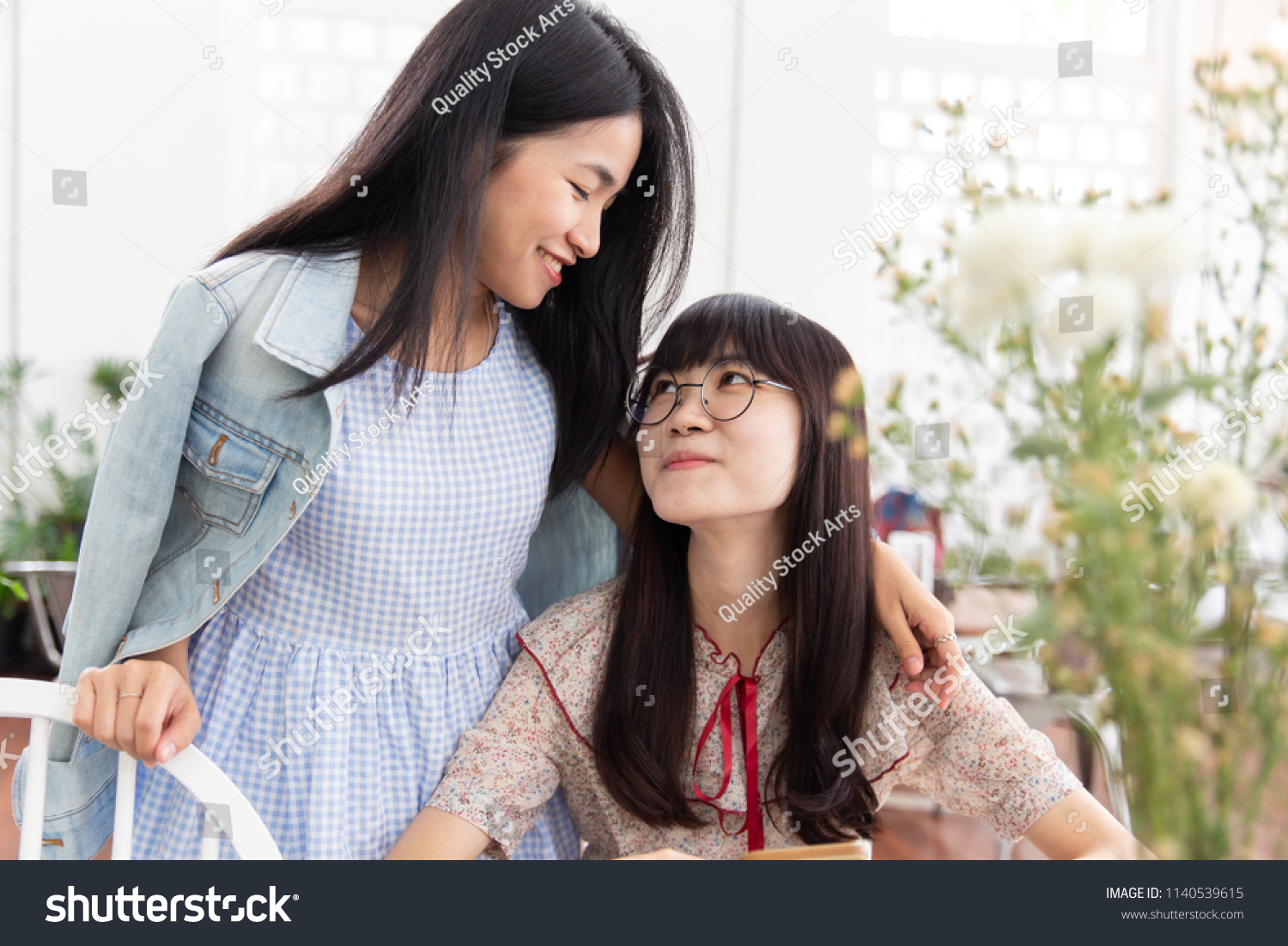 Two Asian Girl Teen Love Together Look At Each Other Friendship Or Lesbian Concept