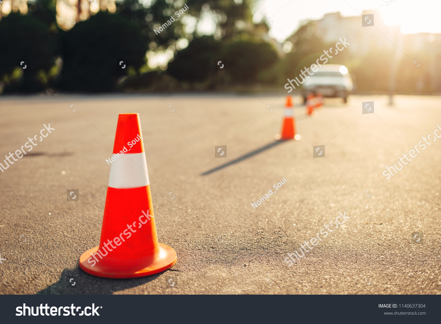 Cones for the examination, driving school concept #1140637304