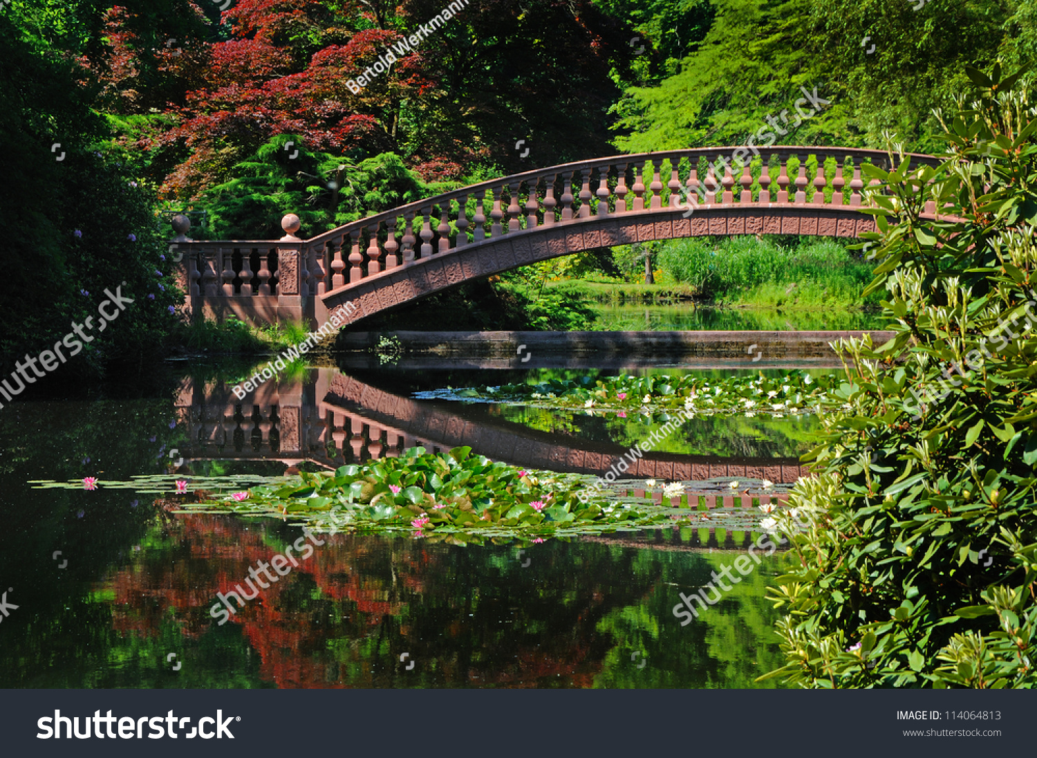 Japanese Garden Stone Bridge stone bridge old stone bridge spanning stock photo 114064813