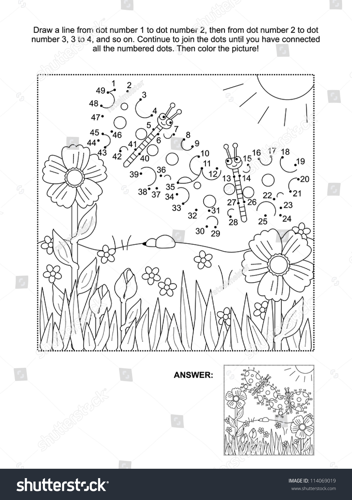 connect dots picture puzzle coloring page stock illustration