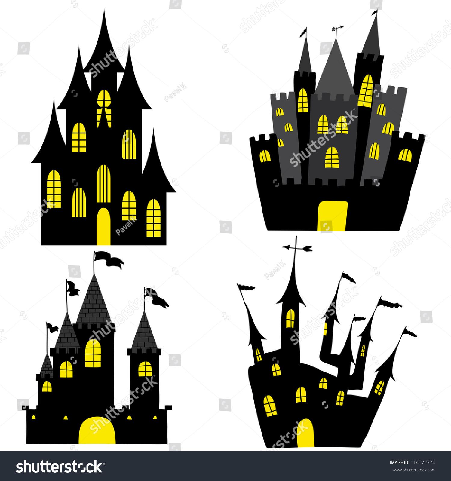 set halloween black castle yellow windows stock vector 114072274