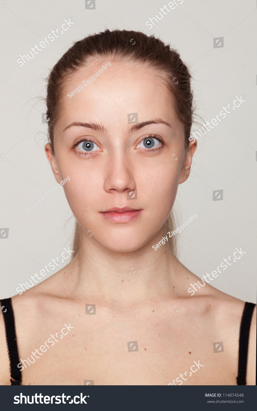 Closeup Face Portrait Young Woman Without Stock Photo 114074548 - Shutterstock