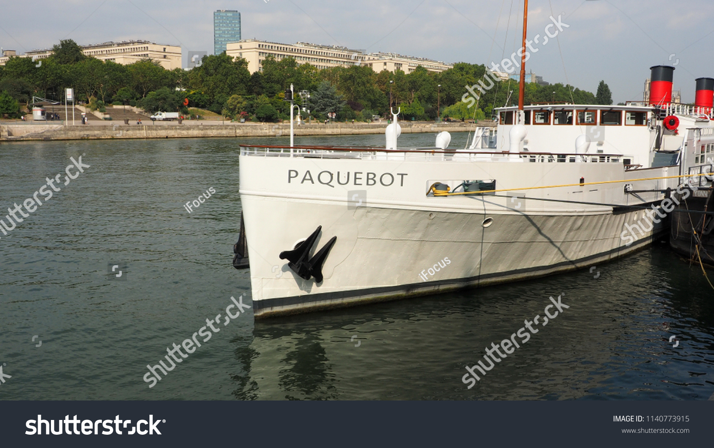 PARIS, FRANCE - JULY 13.2018: 85-meter long Paquebot moored on river Seine at port Henri IV on July 13, 2018 in Paris, France.
