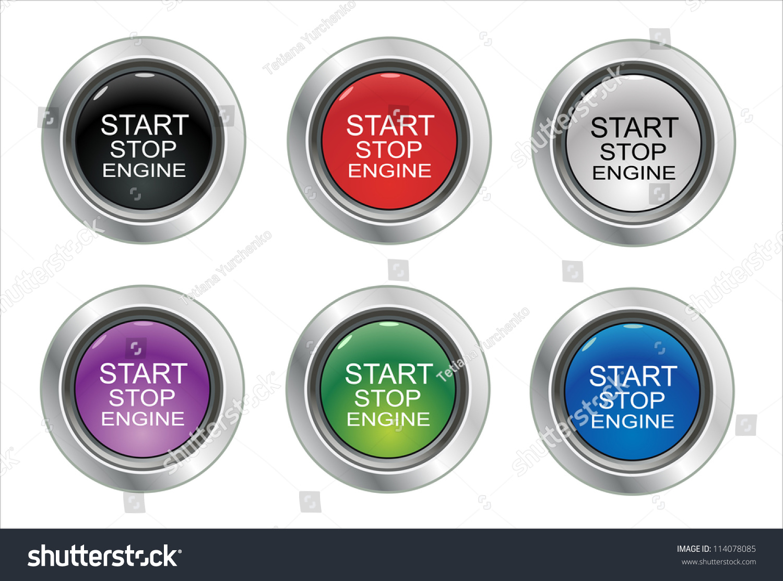 start stop engine button set stock vector 114078085 shutterstock. Black Bedroom Furniture Sets. Home Design Ideas
