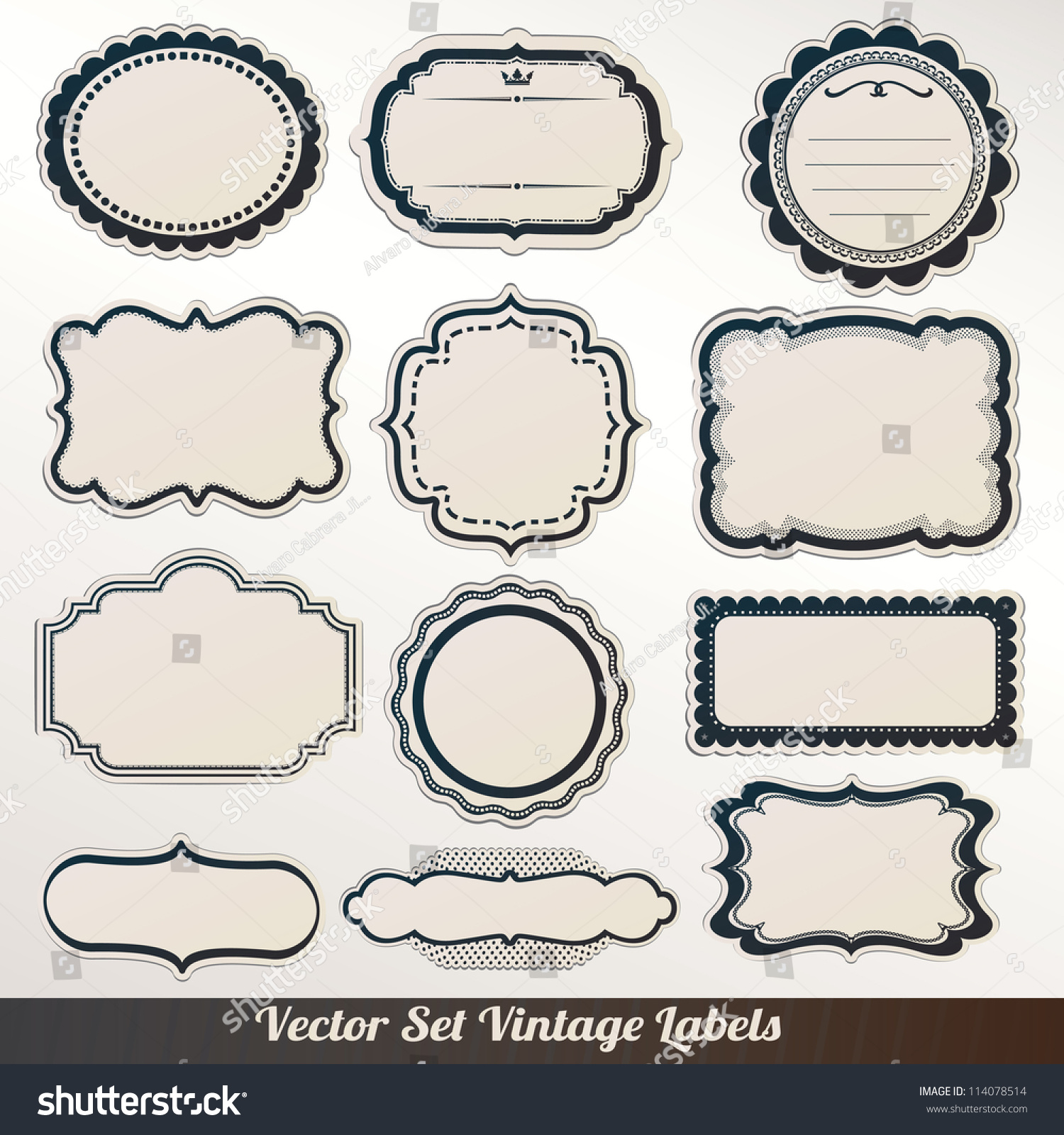 vector frame labels set ornamental vintage stock vector royalty