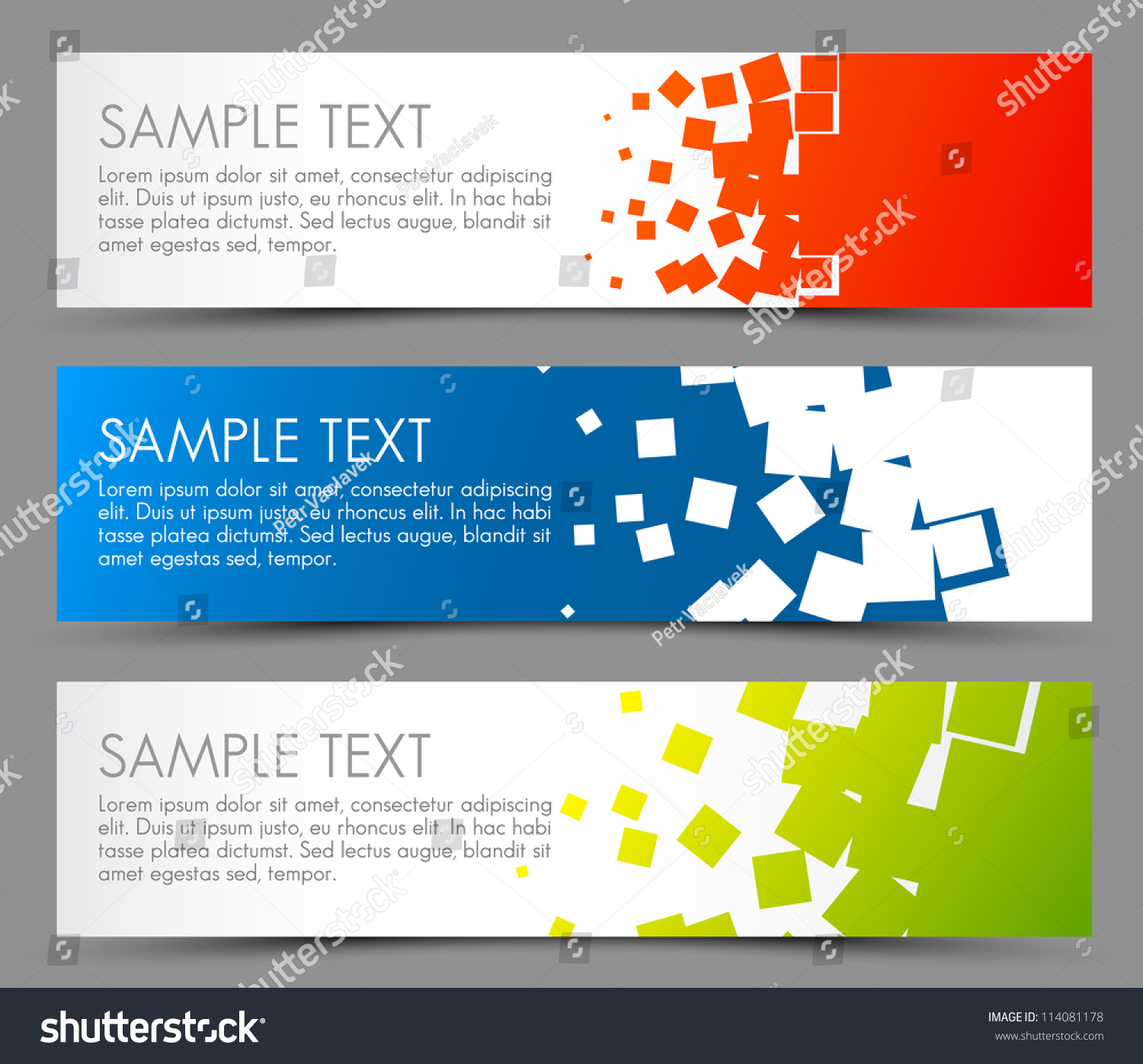 Simple colorful horizontal banners - with square motive #114081178