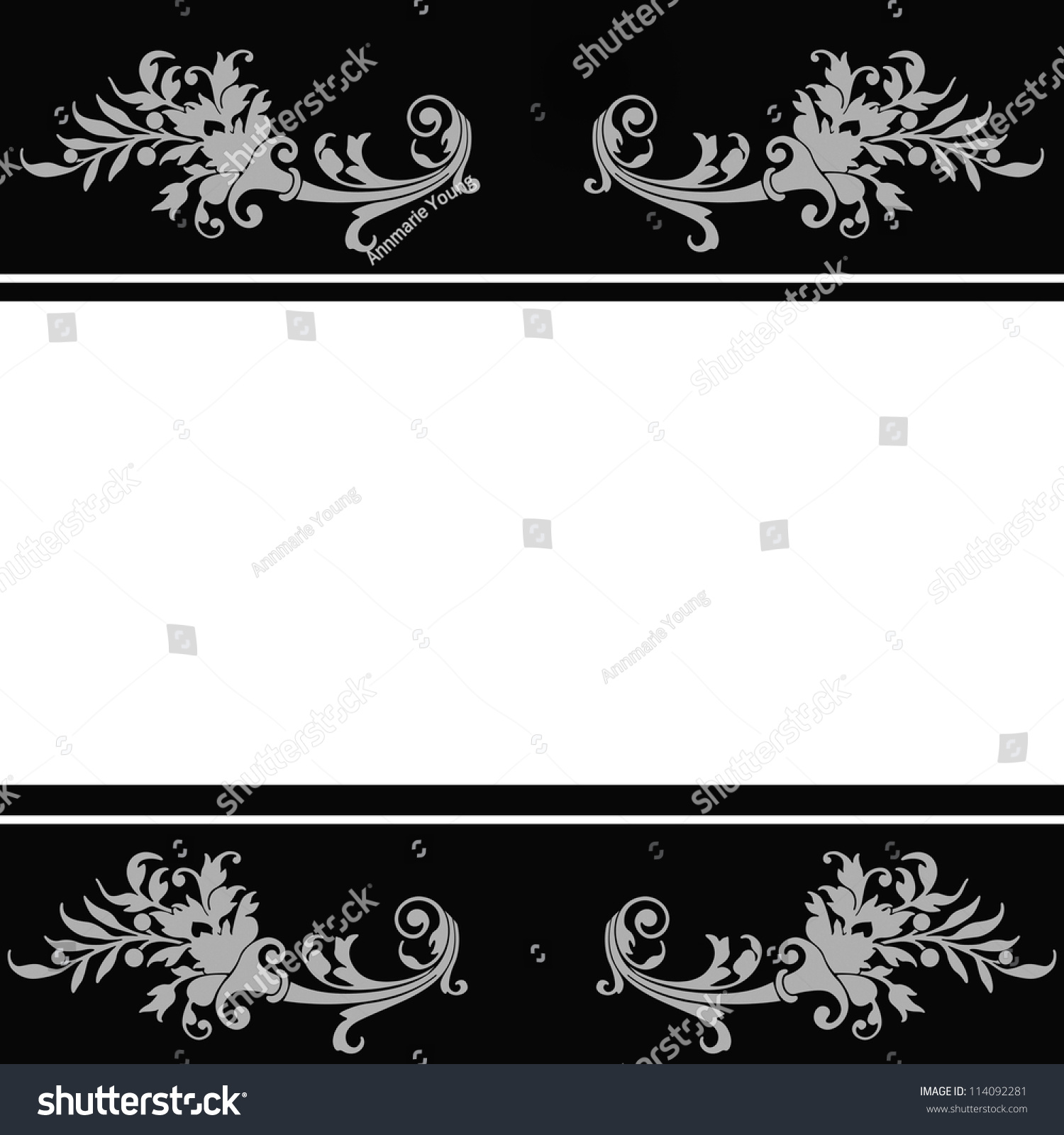 Floral Wedding Invitation Background Black White Stockillustration