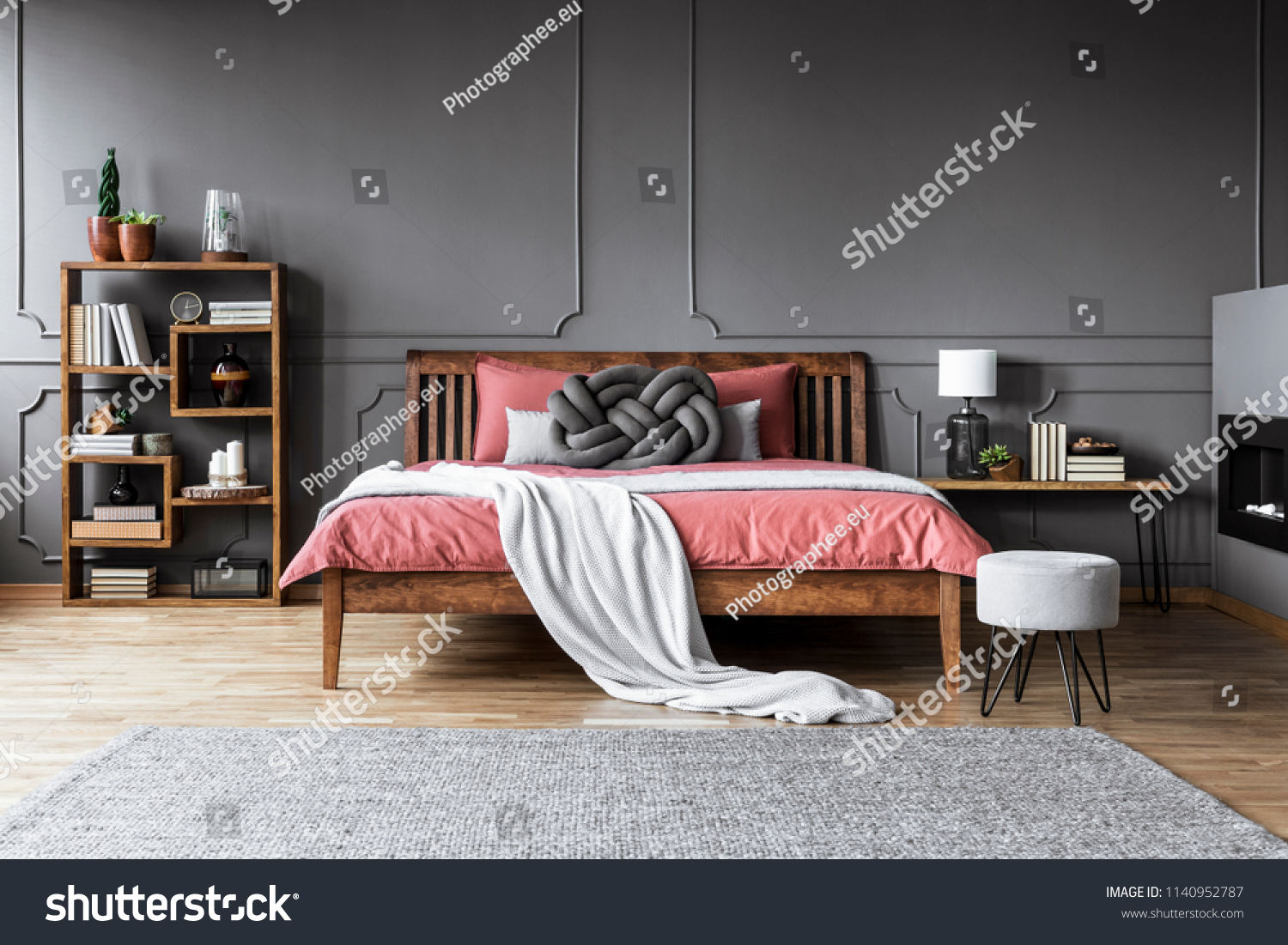 Stool Next Pink Wooden Bed Grey Stock Photo Edit Now 1140952787