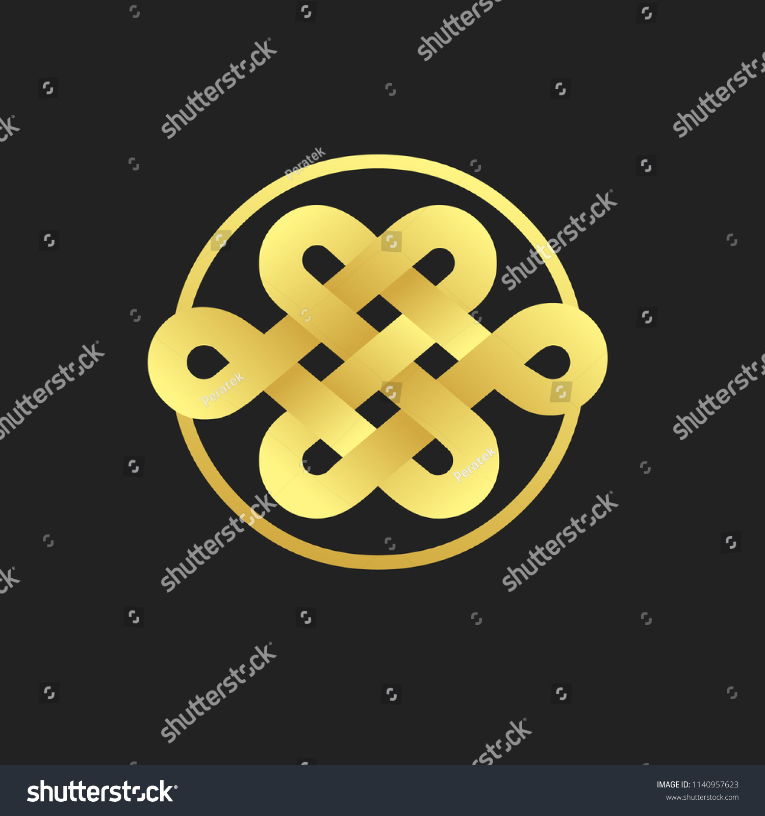 Traditional Buddhist Symbol Luck On Black Stock Vector Royalty Free