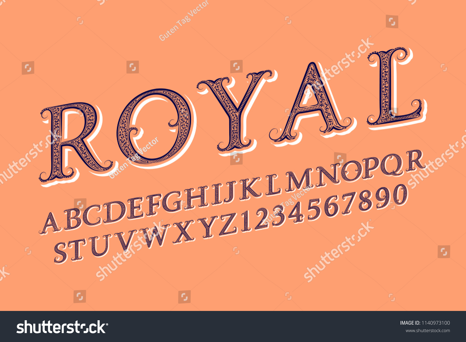 Royal Letters Numbers Old English Vintage Stock Vector Royalty Free