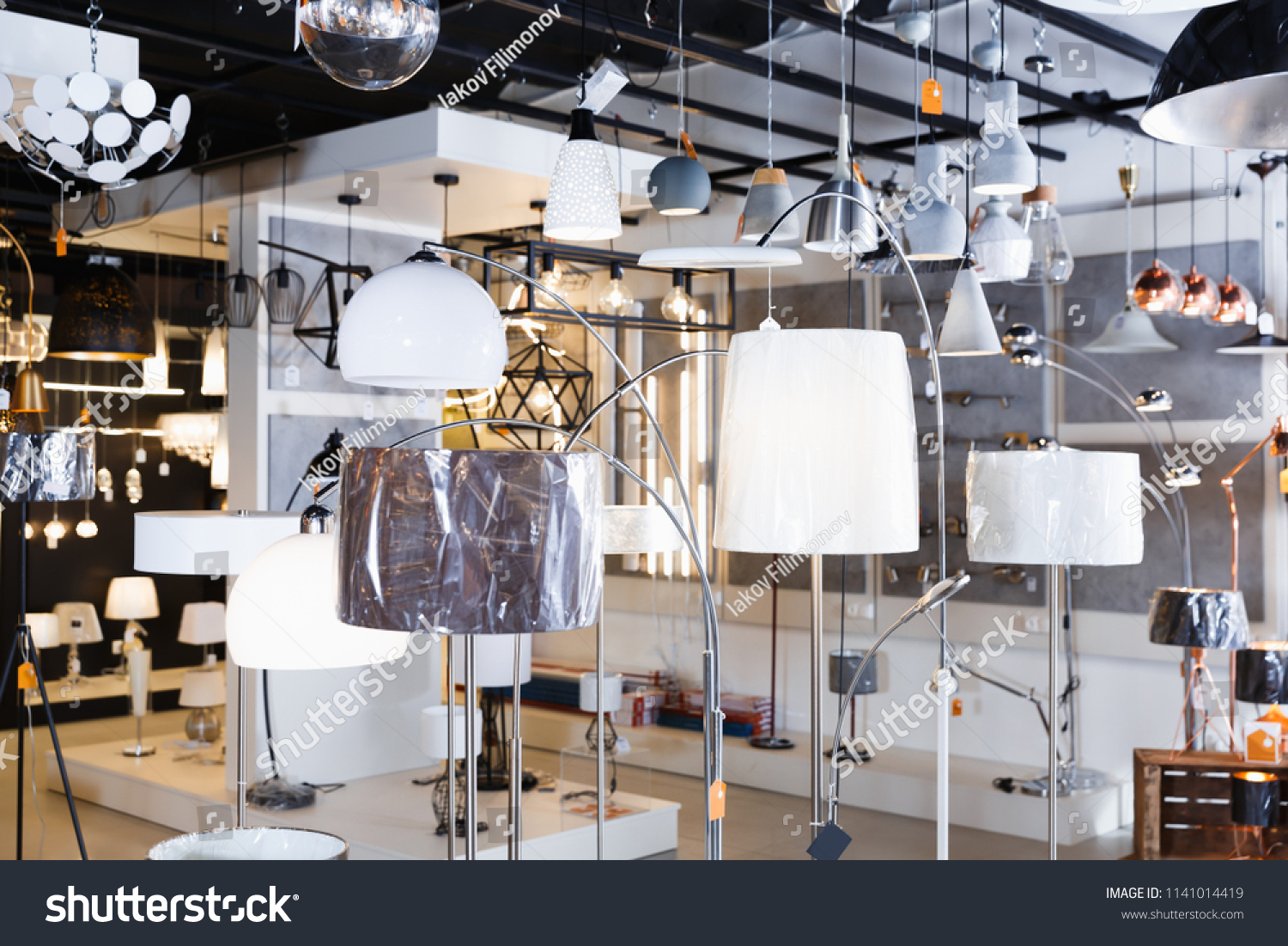 Lamp with lights in the modern furniture shop