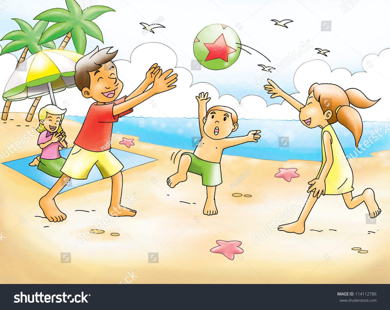 Cartoon Illustration Family Having Picnic Beach Stock ...