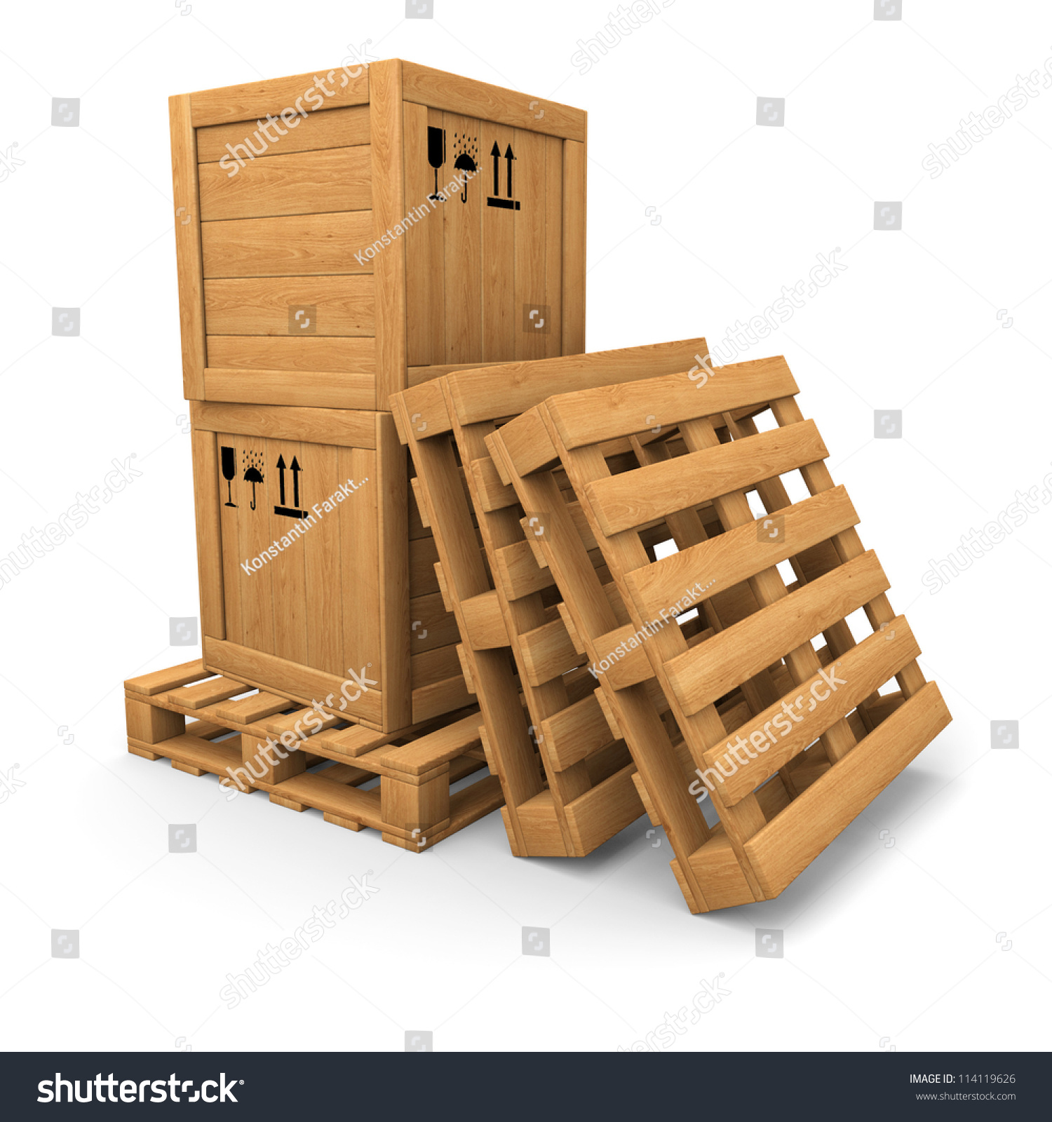 Stack Of Two Wooden Boxes On Pallet. Two Pallets Near ...