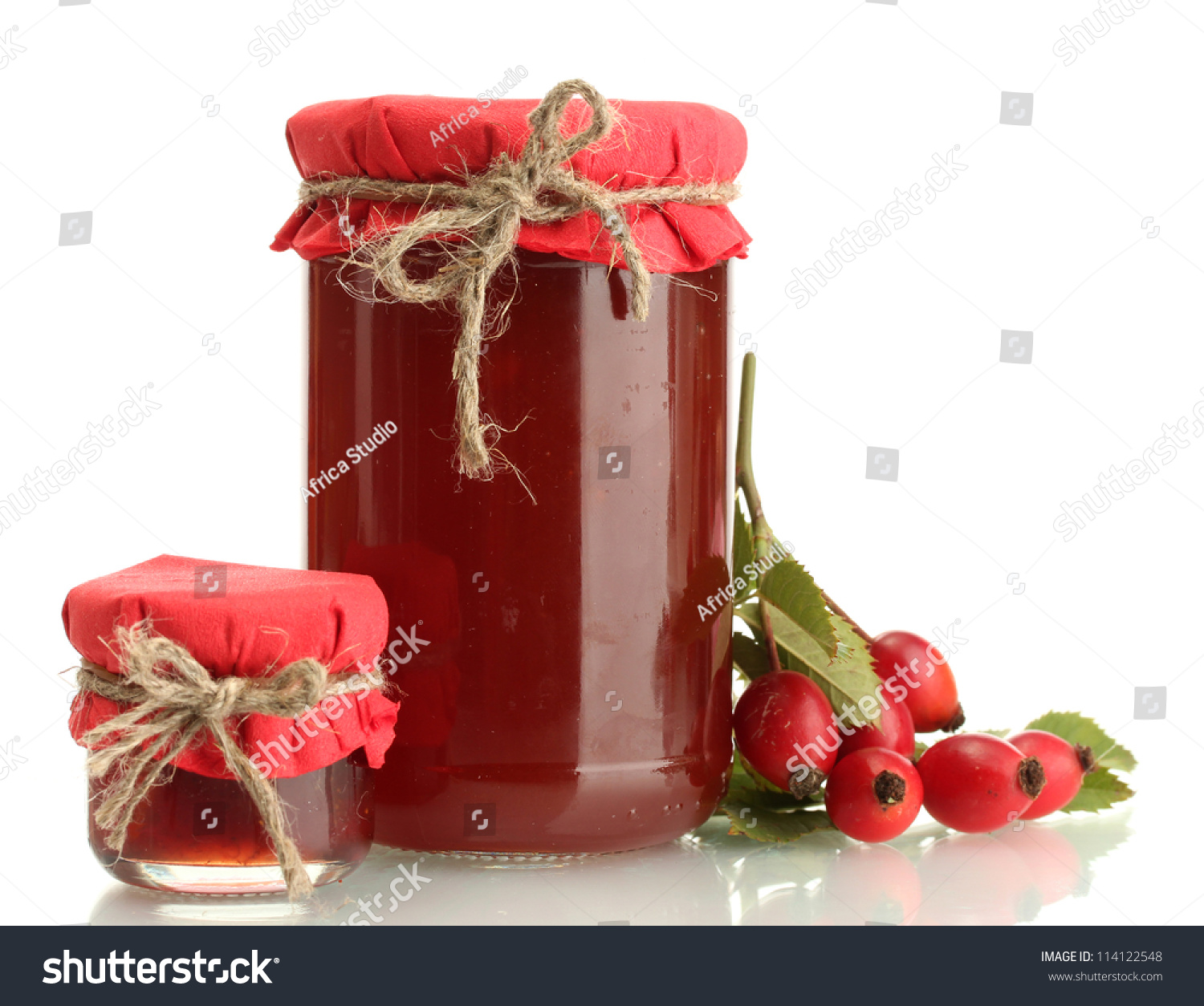 Jars with hip roses jam and ripe berries isolated on white stock photo 114122548 shutterstock - What to do with rosehips jelly and vinegar ...