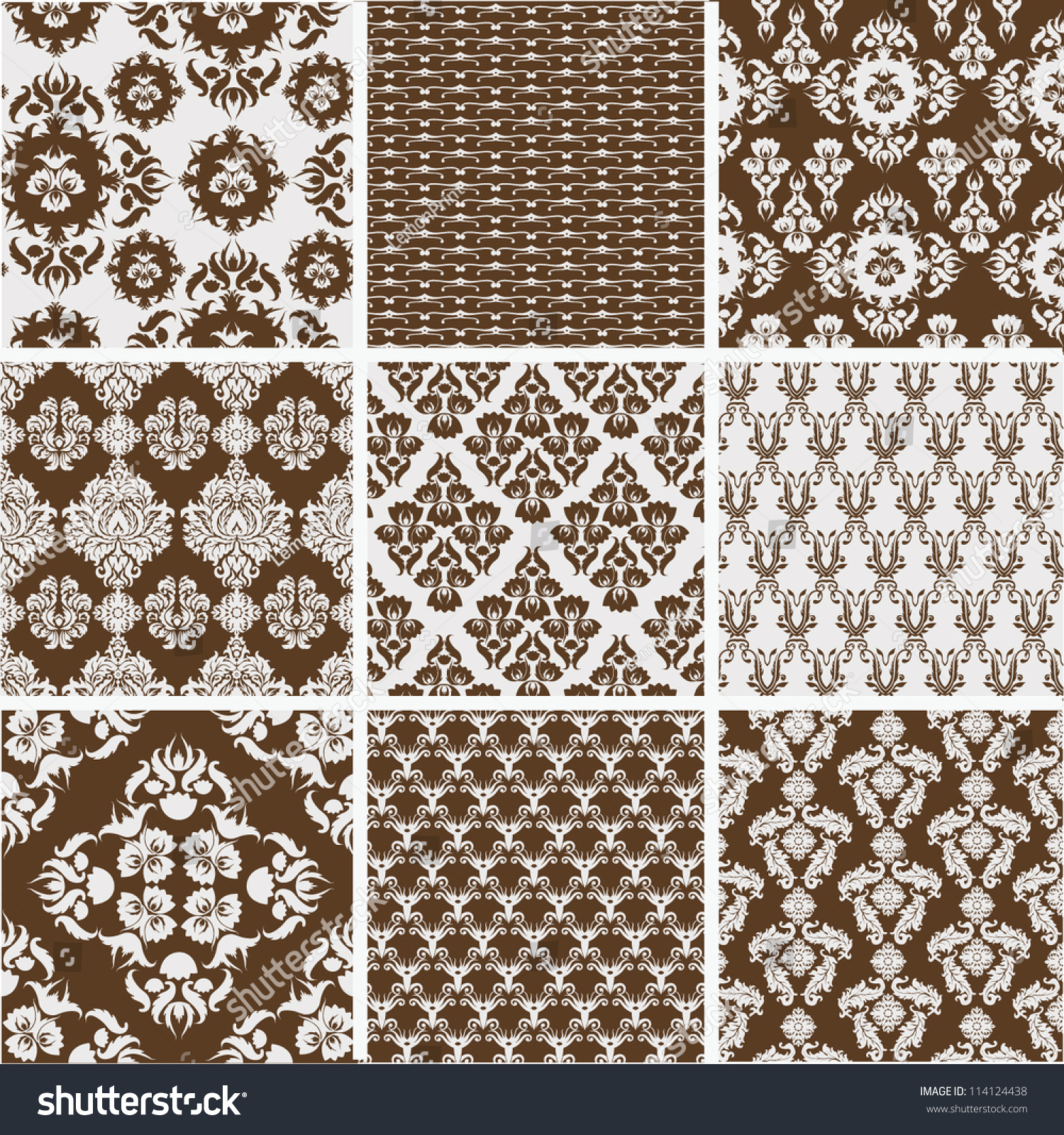 Collection Of Damask Designs Stock Vector Illustration 114124438 ...