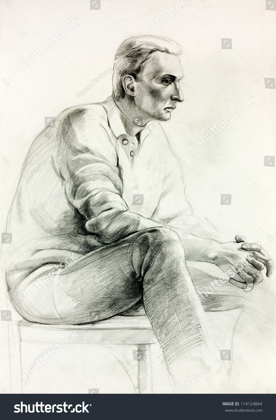 Man sitting in chair drawing - Original Pastel Or Drawing Charcoal And Hand Drawn Painting Or Working Sketch Of A Man