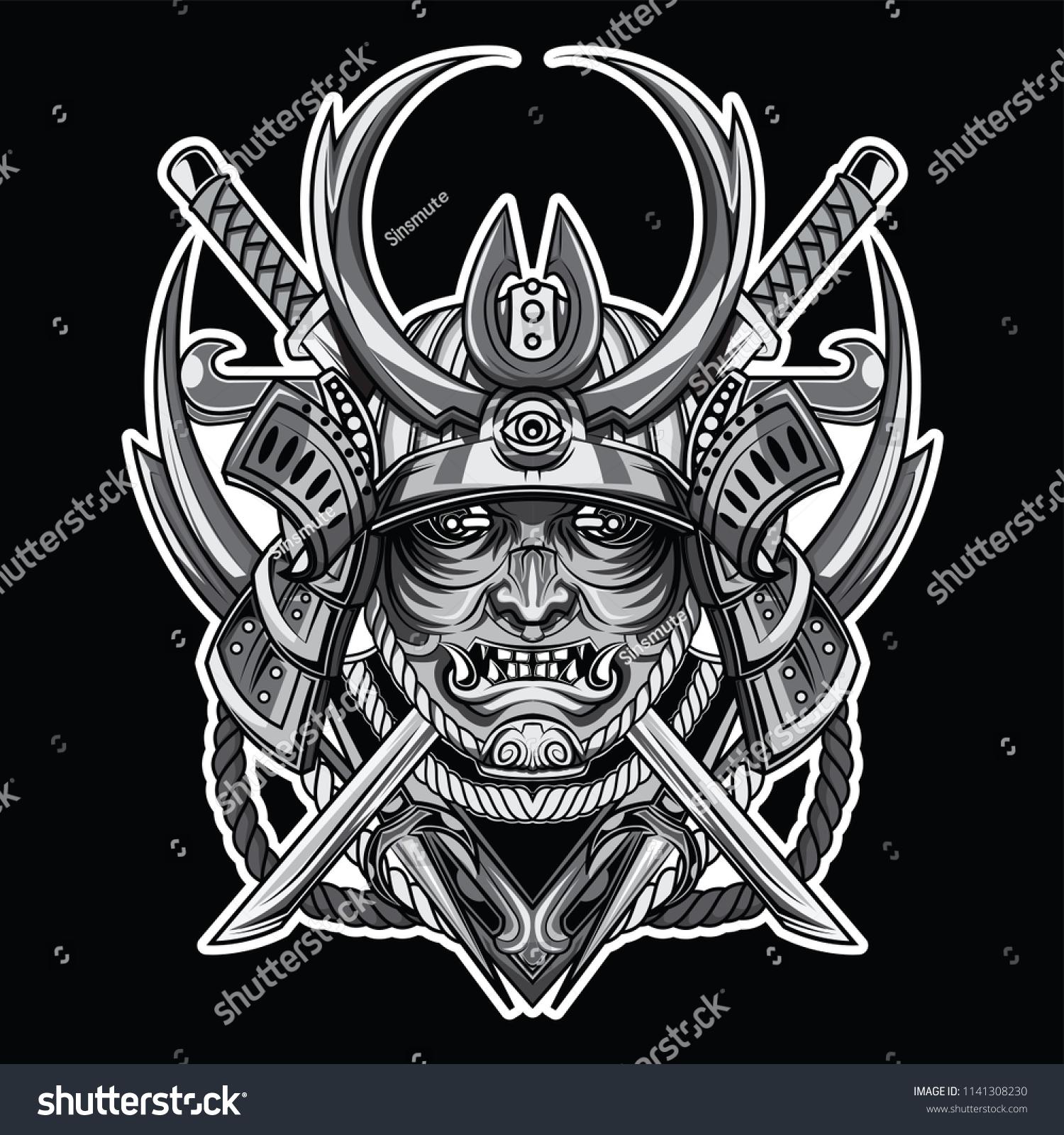 Silver Samurai Mask Tattoo Concept Stock Vector Royalty Free 1141308230