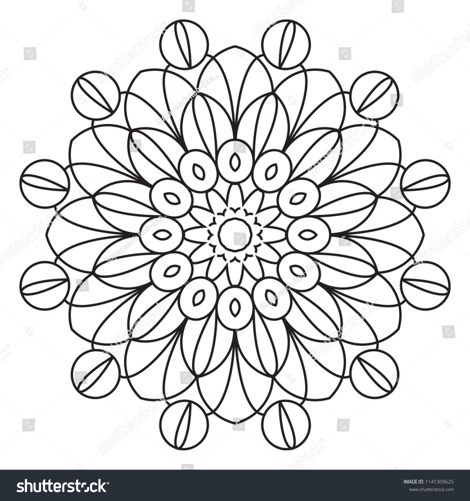 Basic Mandala Easy Mandalas Coloring Pattern Stock Illustration