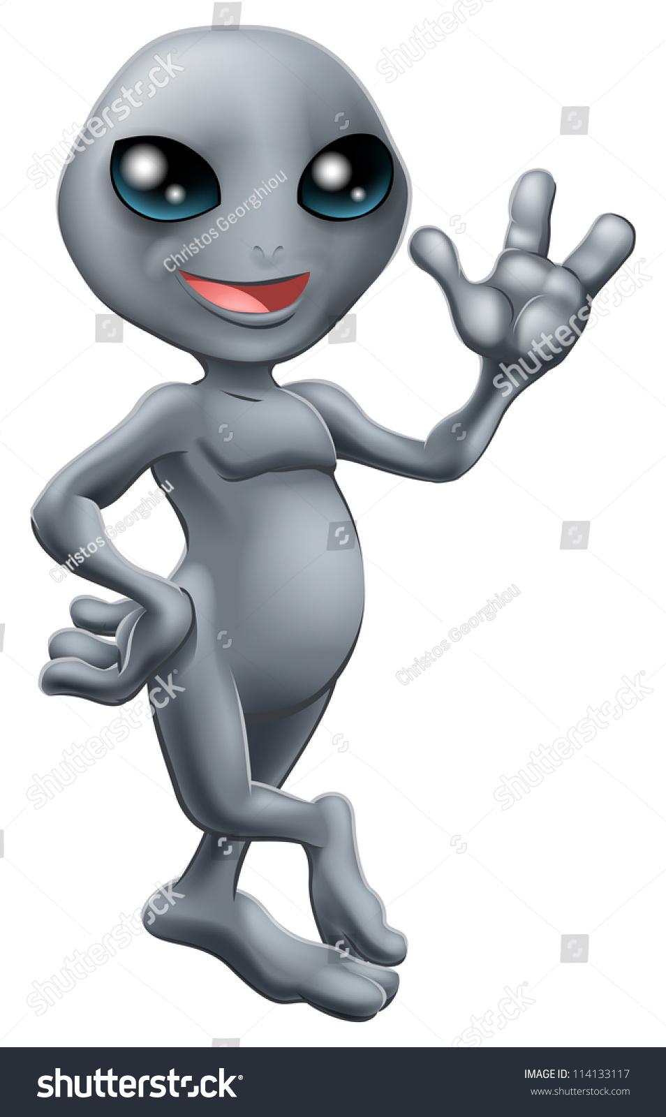 illustration cute cartoon little grey alien stock vector 114133117