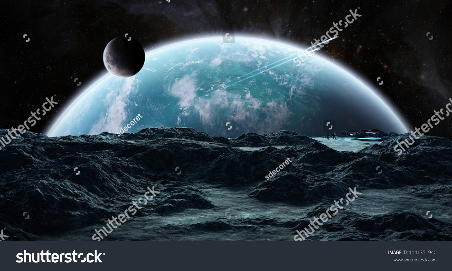 Astronauts with spaceship exploring an asteroid in space 3D rendering elements of this image furnished by NASA #1141351940