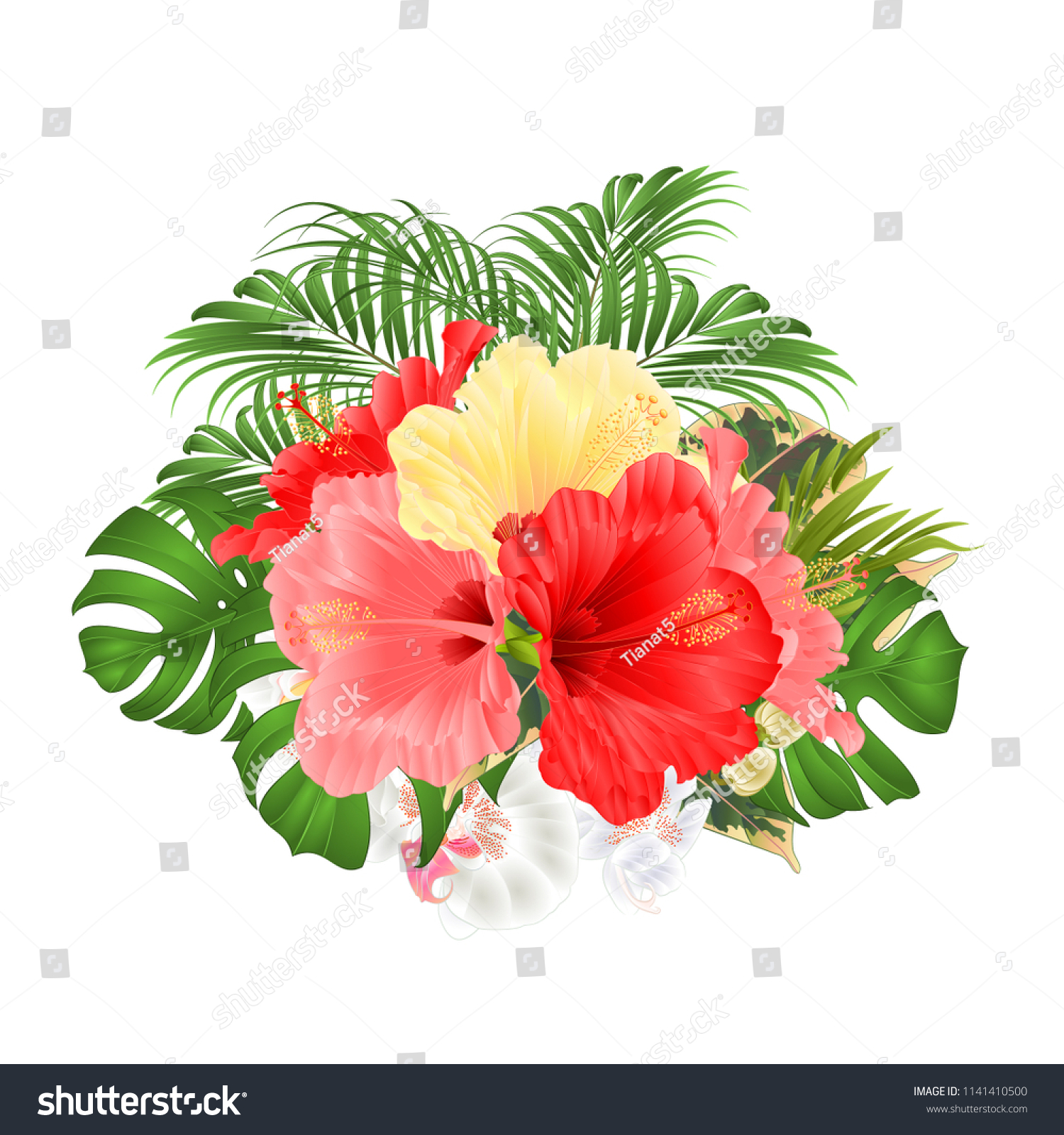 Bouquet Tropical Flowers Floral Arrangement Red Stock Vector Royalty Free 1141410500