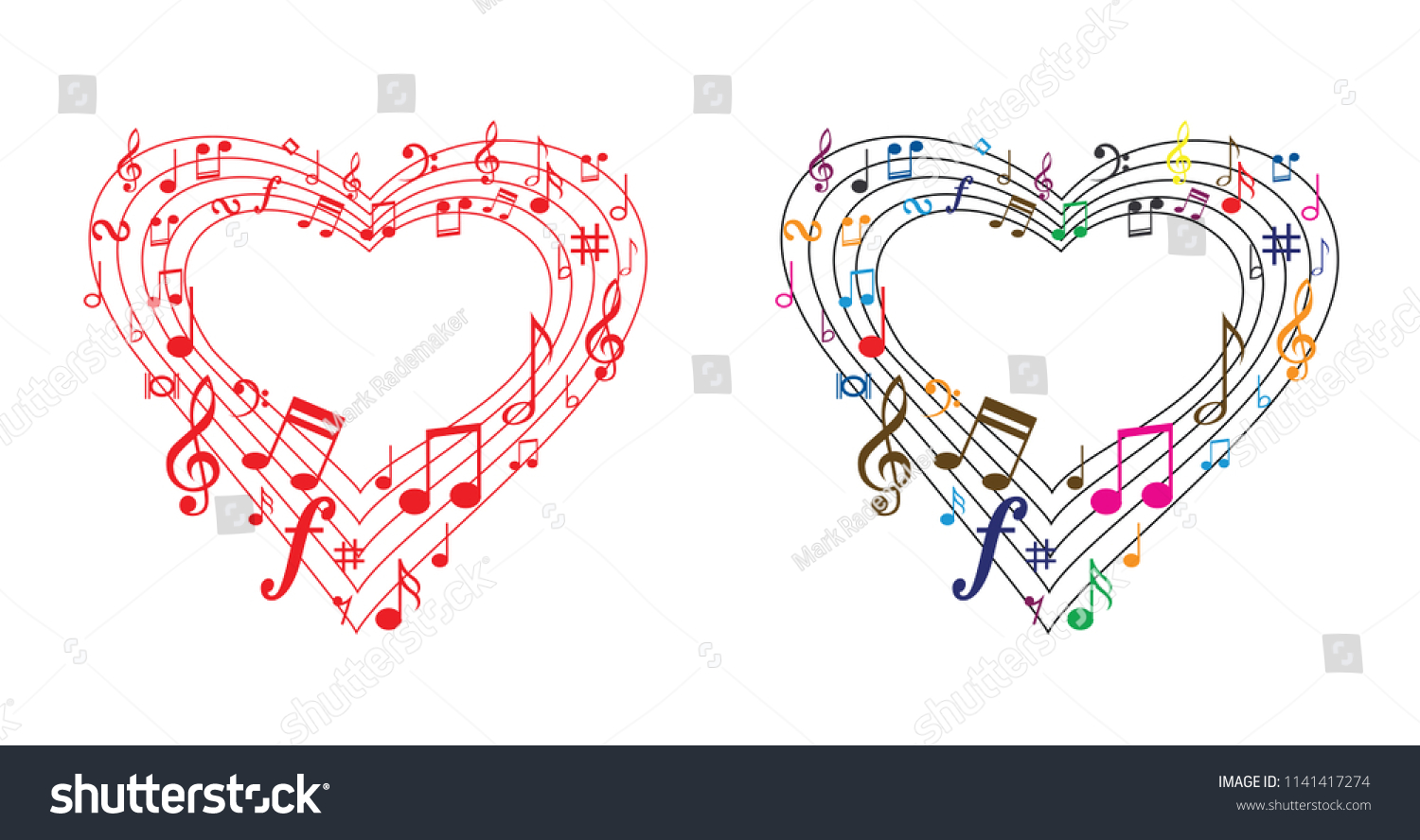 Music Line Love Music Notes Heart Stock Vector Royalty Free