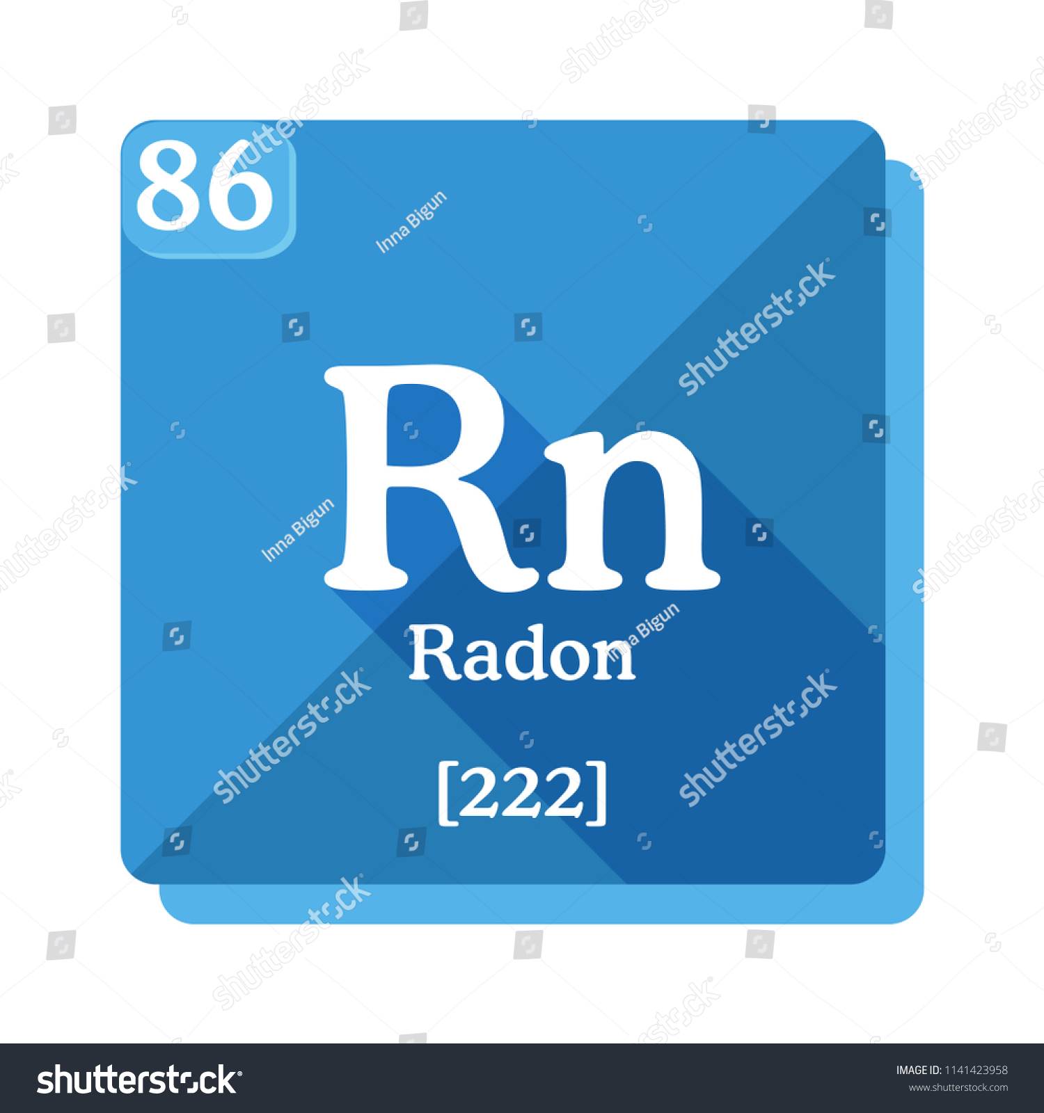 Radon Rn Element Periodic Table Flat Stock Vector Royalty Free