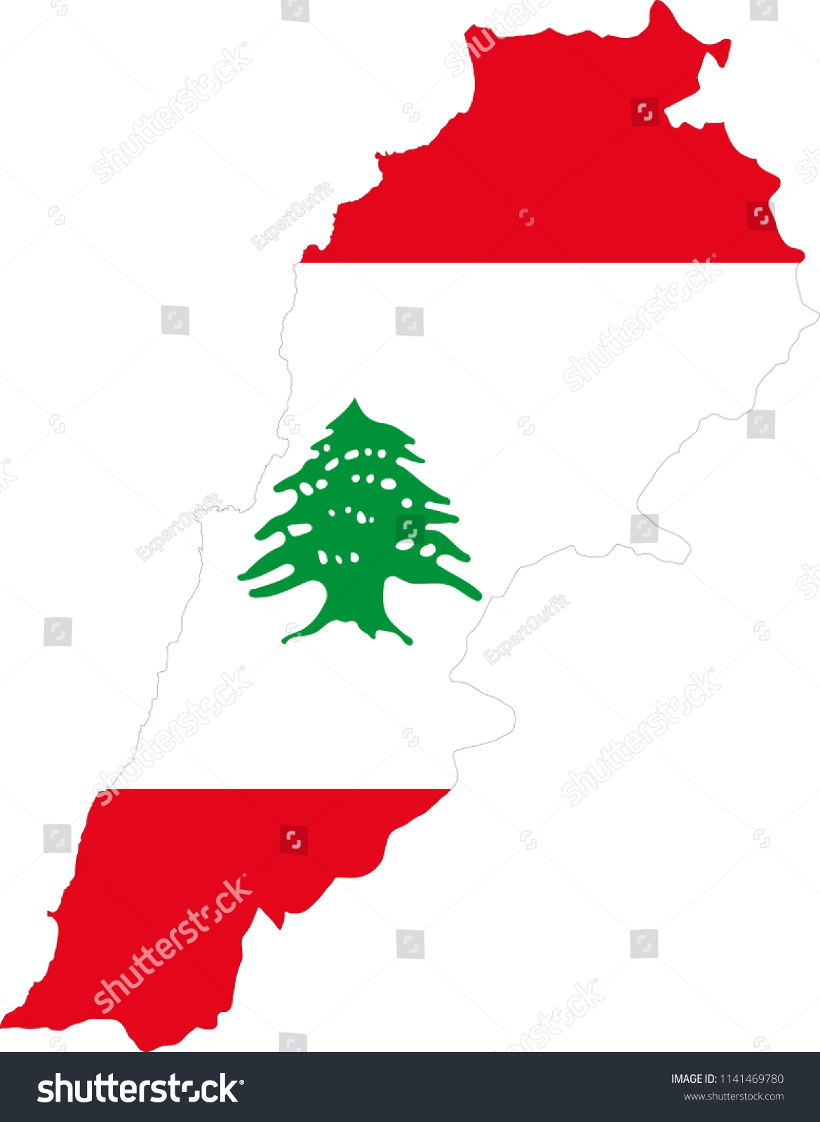 Lebanon Lebanese Flag Country Map Shaped Stock Vector