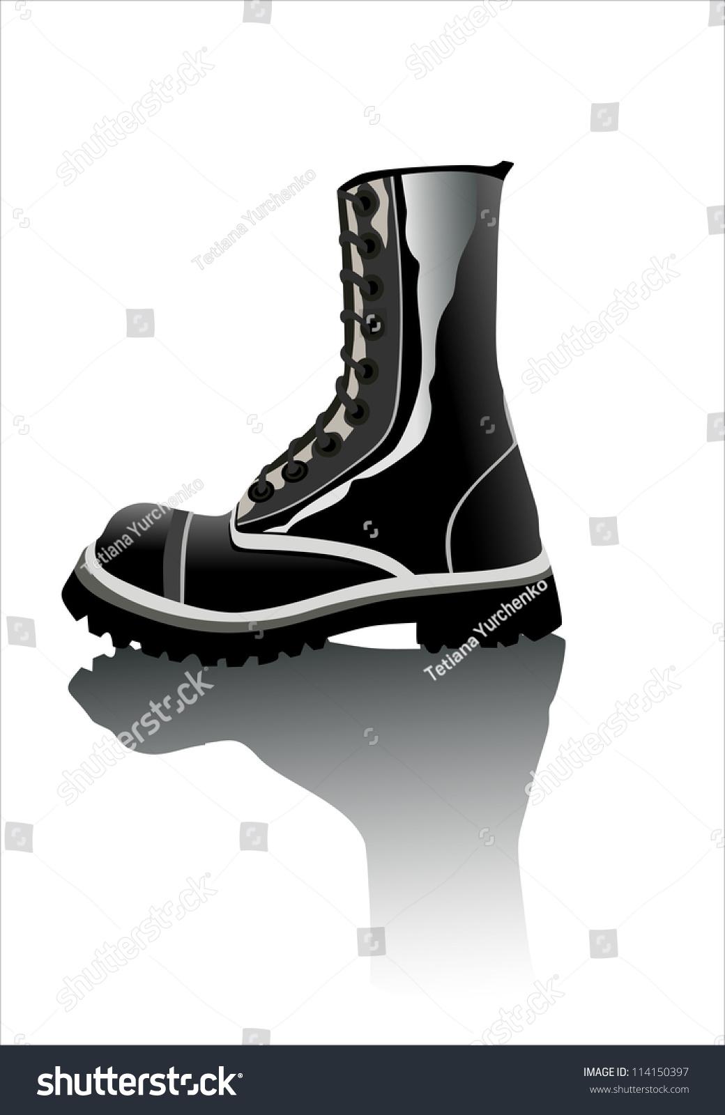 Black Army Boot Stock Vector Illustration 114150397  Shutterstock