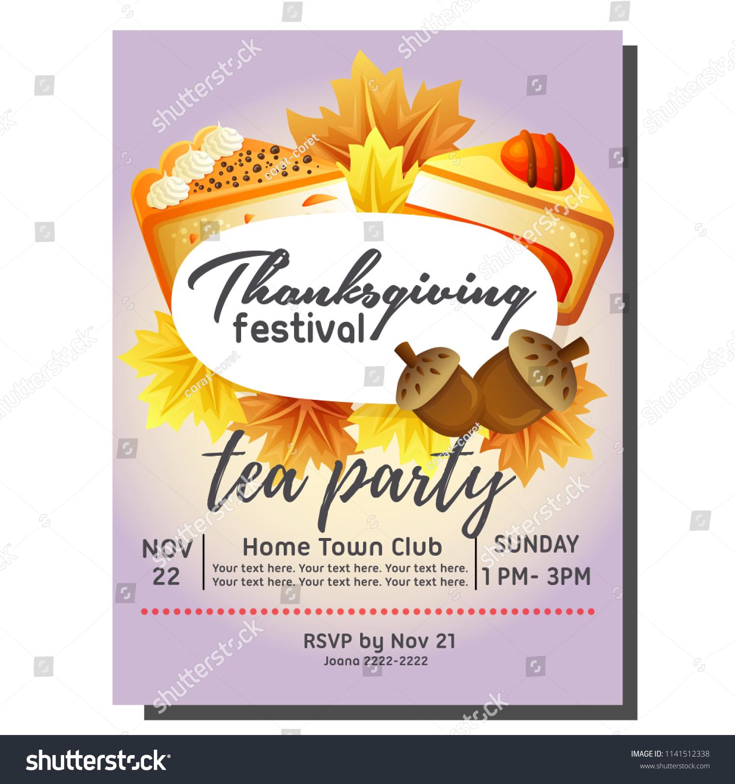 Tea Party Autumn Invitation Card Cake Stock Vector Royalty Free