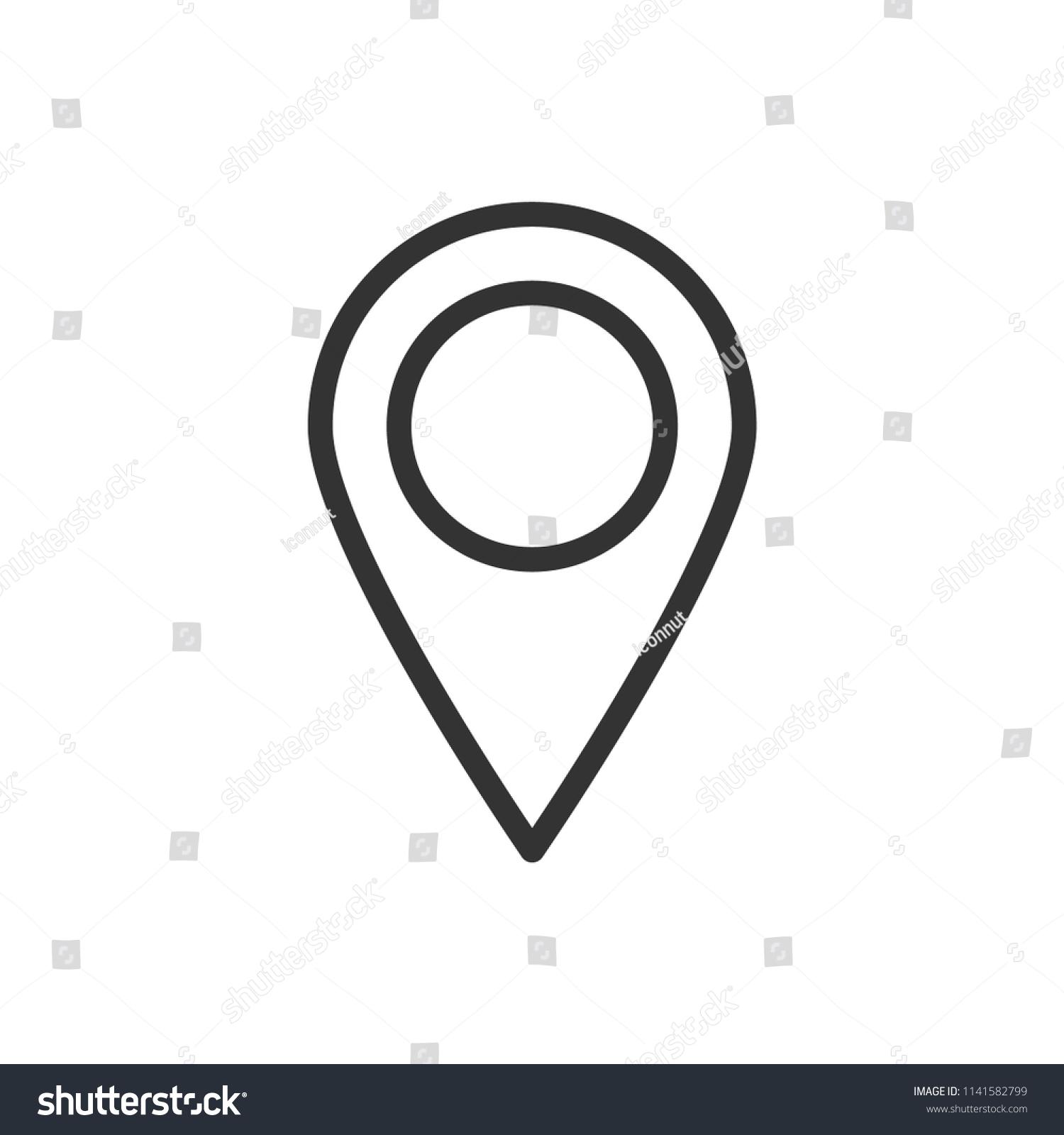 Location Address Icon Simple Black Line | Signs/Symbols