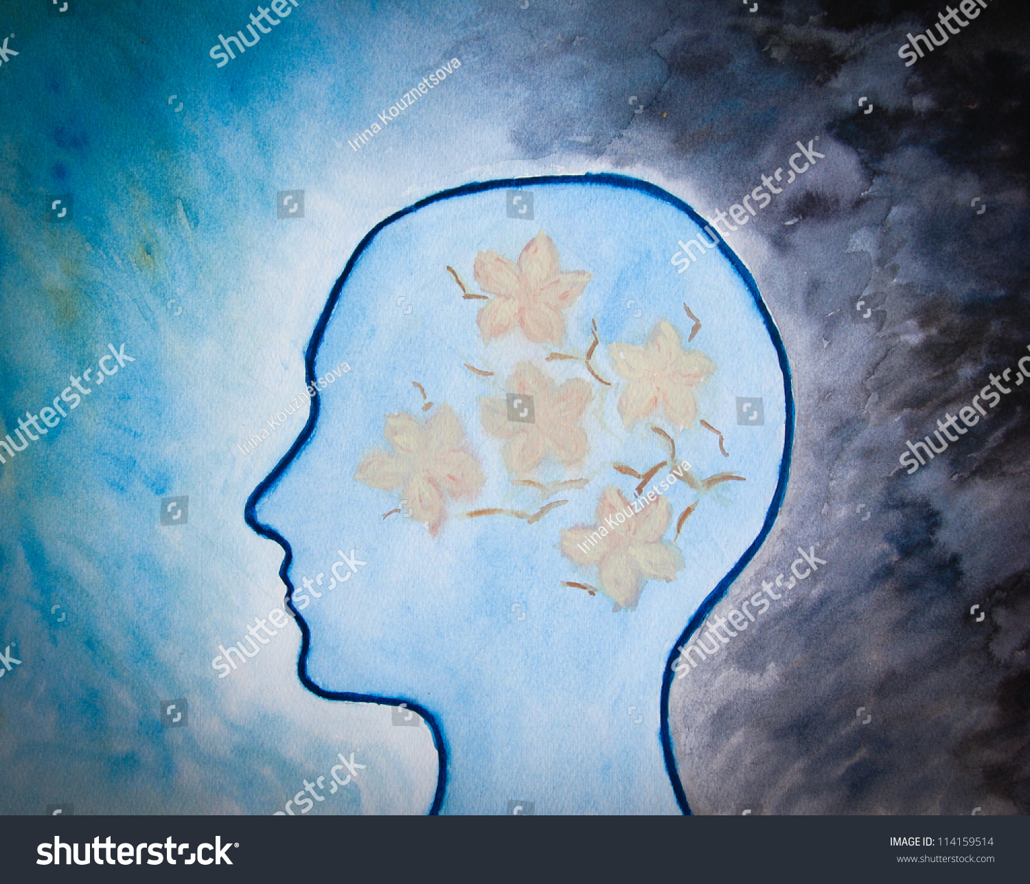 human head with flowers on dark blue background watercolor painting stock photo 114159514. Black Bedroom Furniture Sets. Home Design Ideas