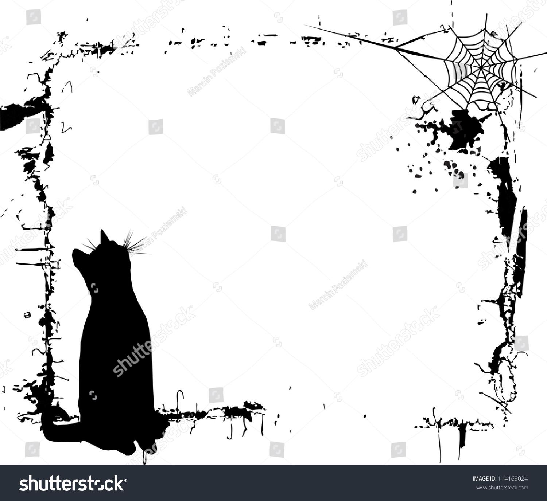 Halloween Background Black Cat Frame Stock Vector (Royalty Free ...