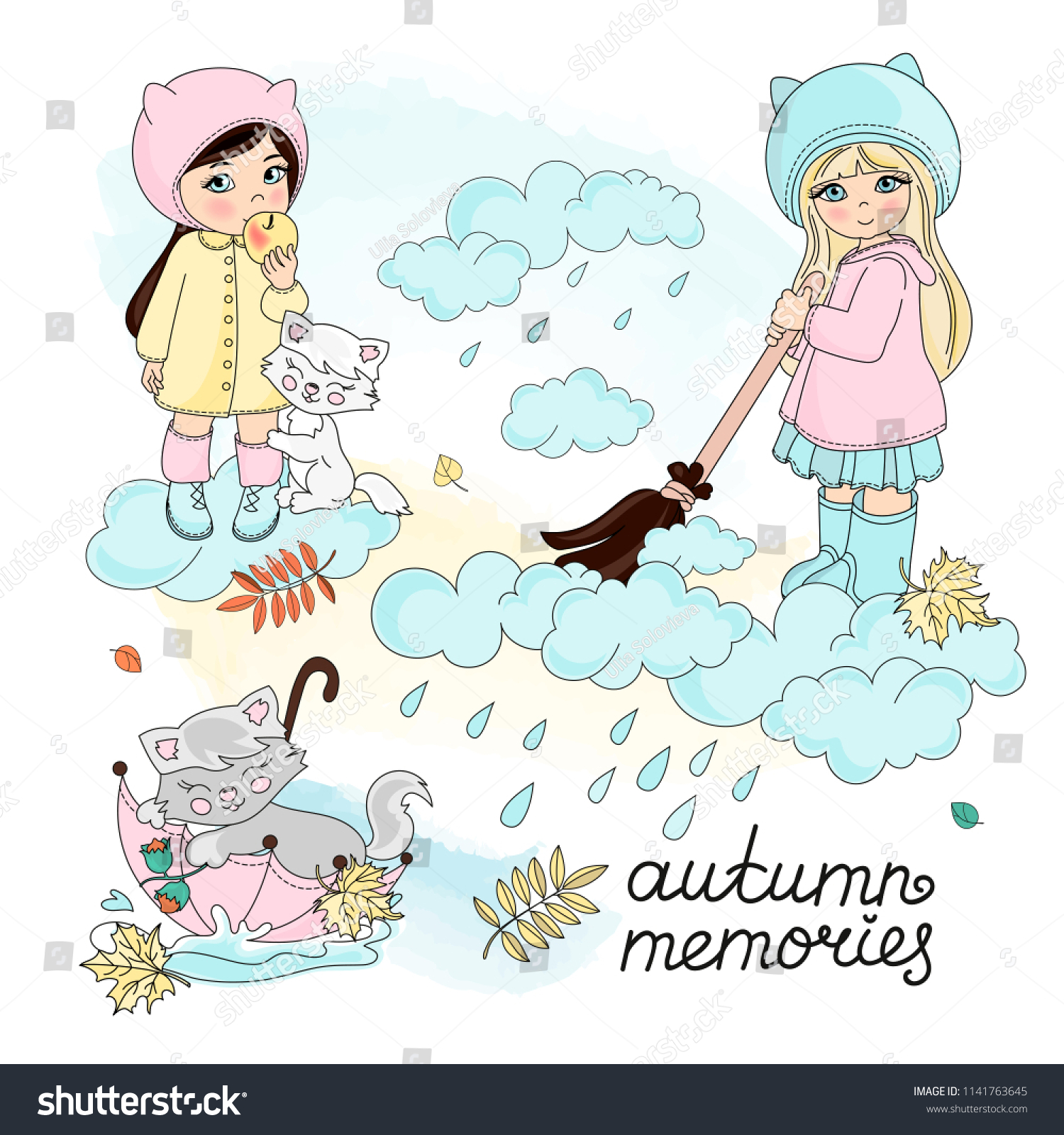 Autumn Clipart Color Vector Illustration Set Stock Vector Royalty Free 1141763645
