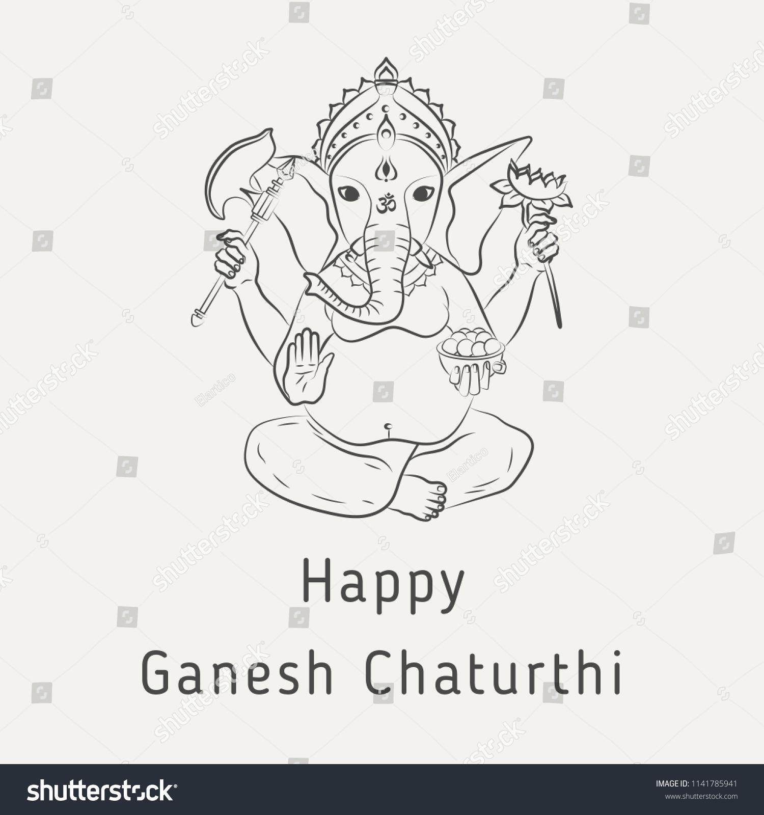Happy Ganesh Chaturthi Greeting Card Hindu Stock Vector 1141785941