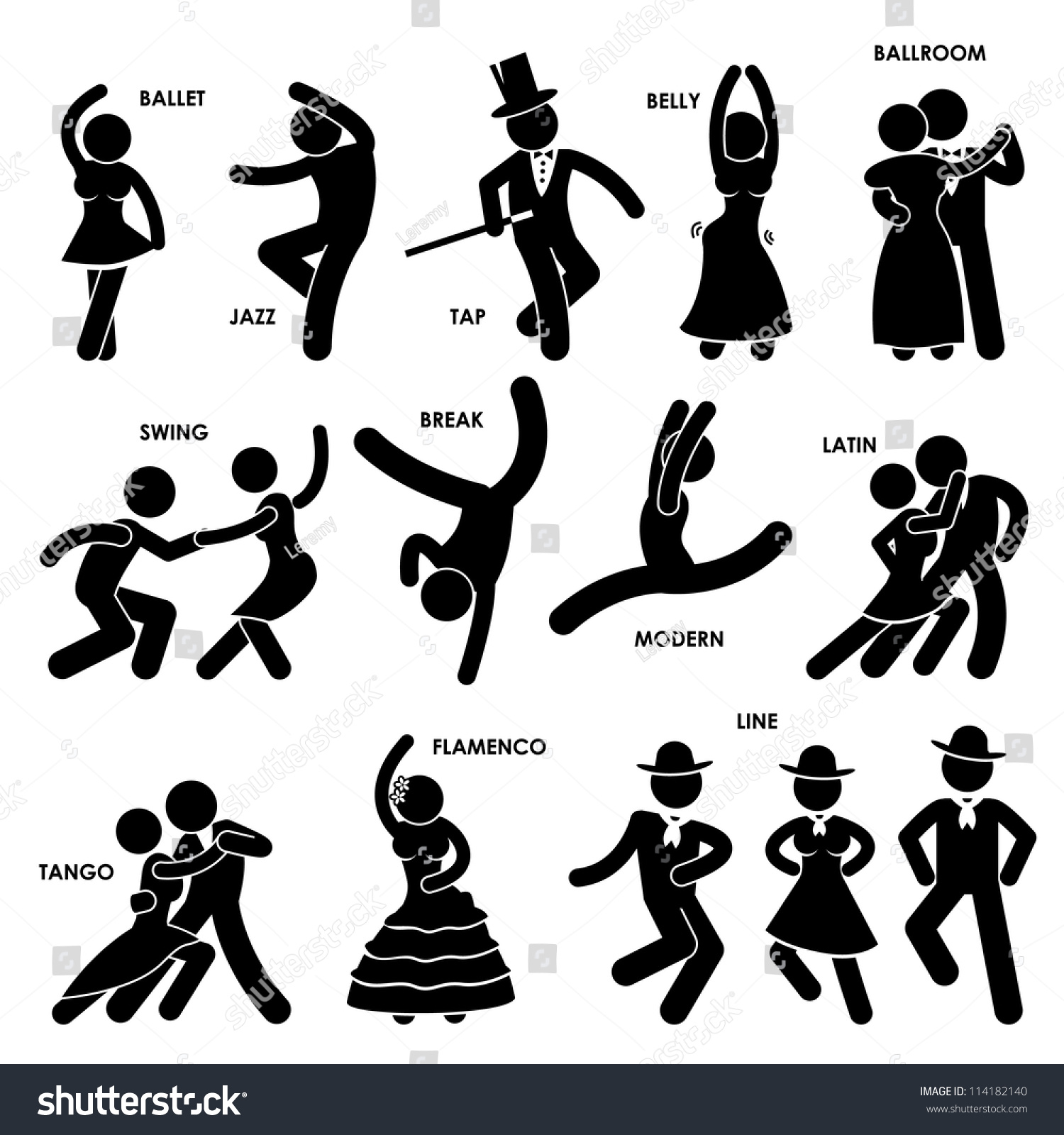 Dancing Dancer Ballet Jazz Tap Belly Stock Illustration
