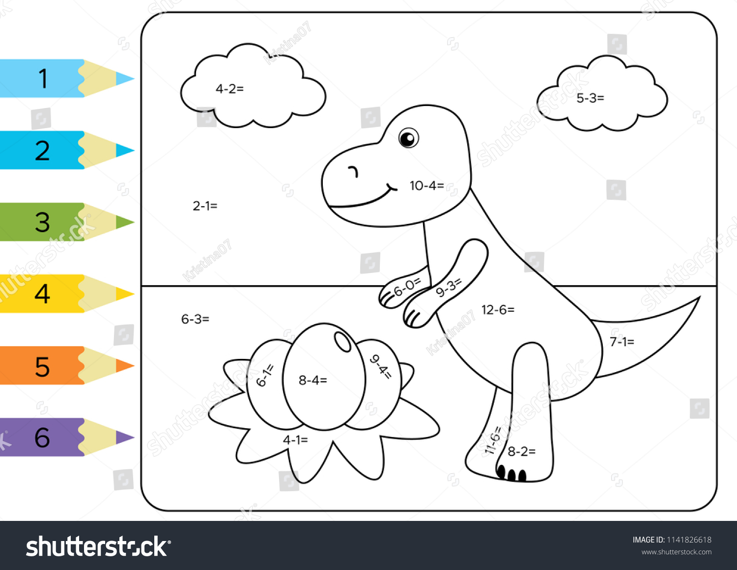 Educational Coloring Page Kids Paint Color Stock Vector (Royalty ...