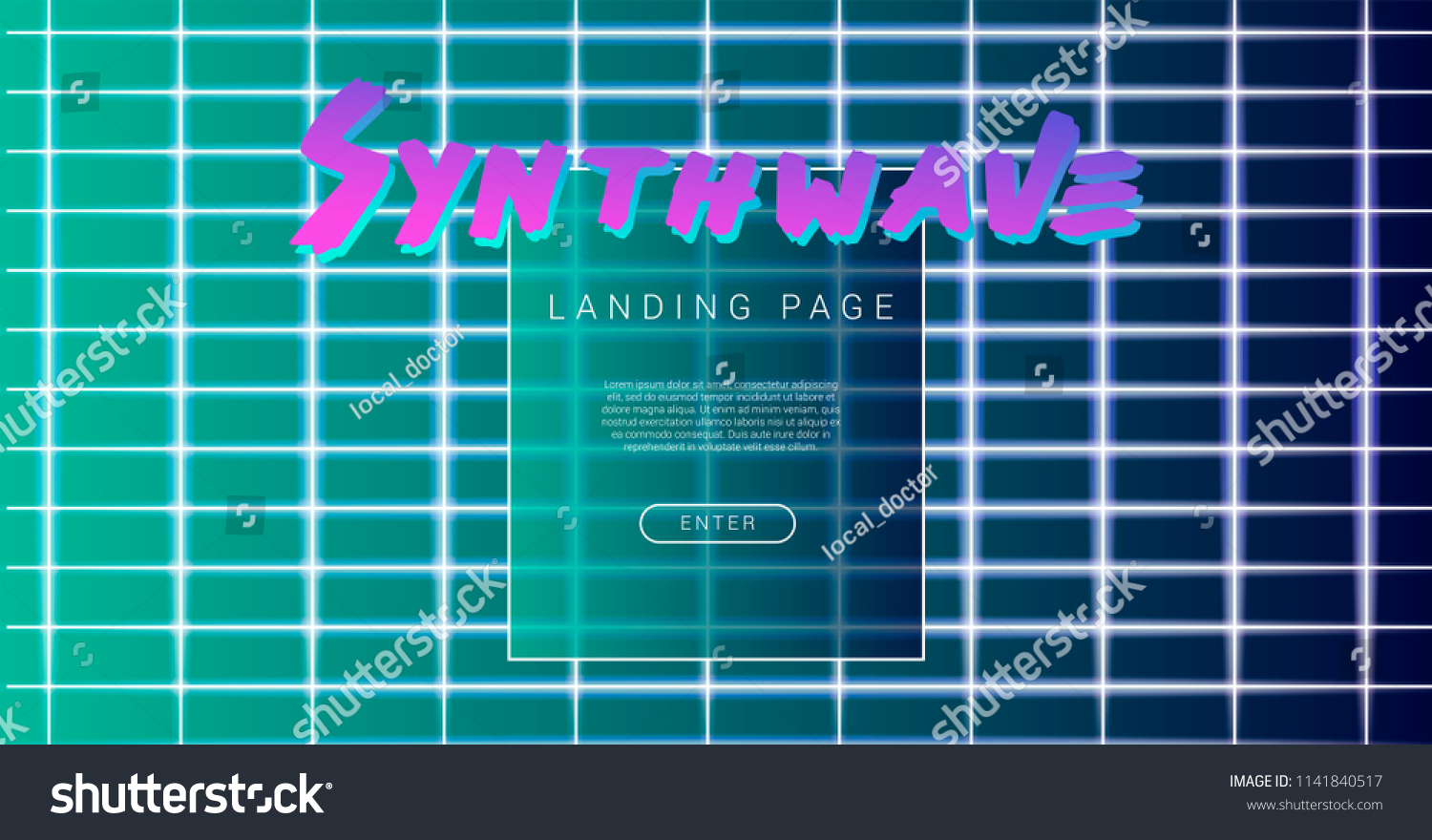 synthwave vaporwave style vector design template stock vector