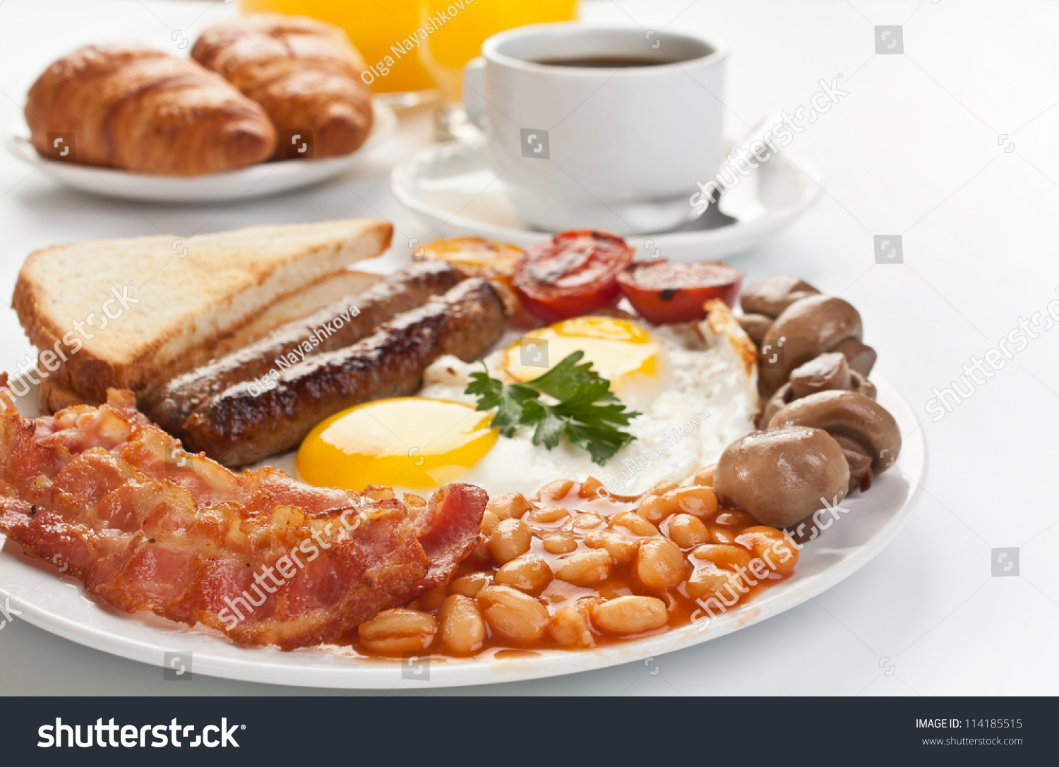 Traditional full english breakfast sunnysideup fried stock for American continental cuisine
