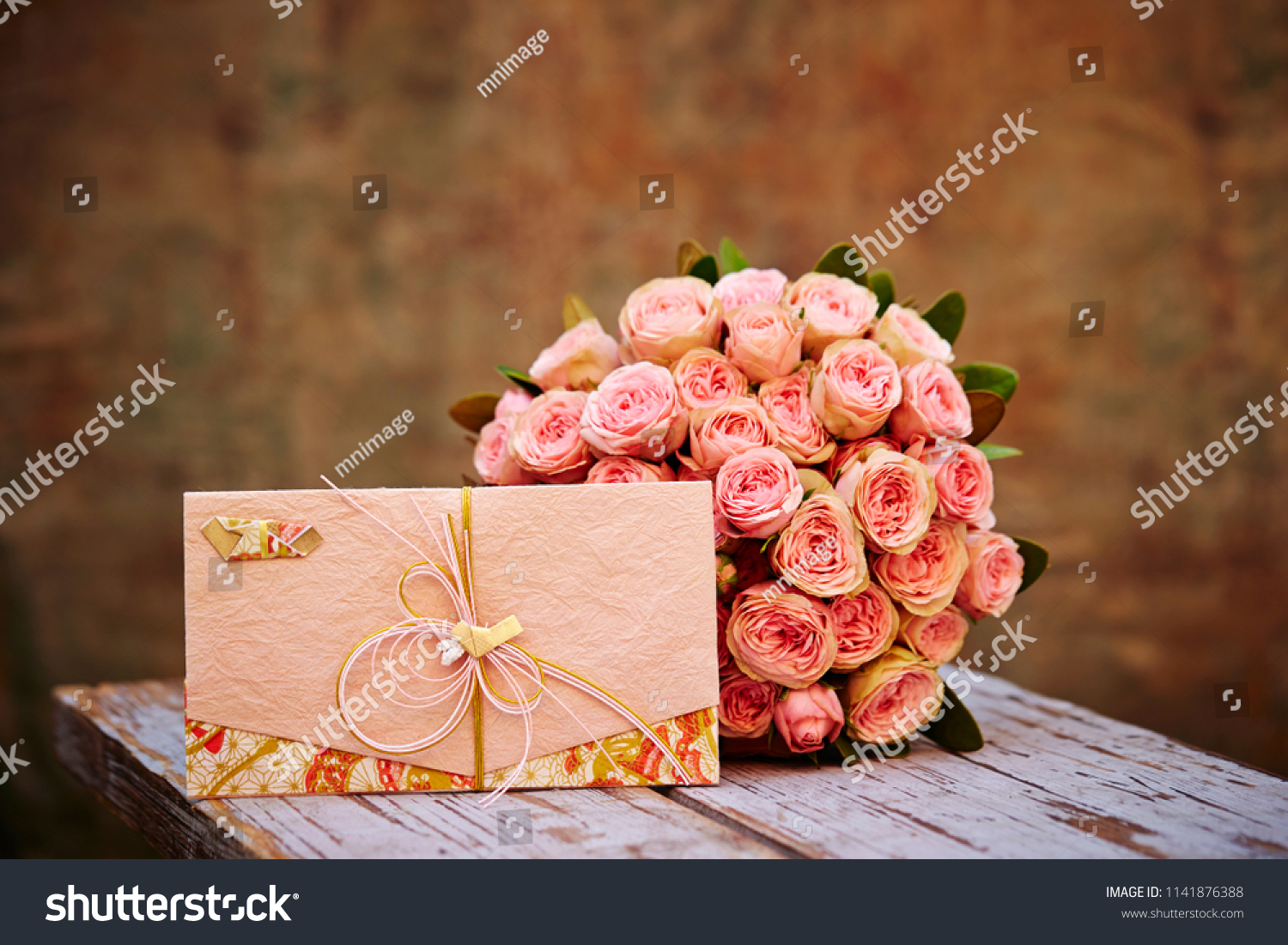 Flower Bouquet Japanese Envelope Stock Photo Edit Now 1141876388