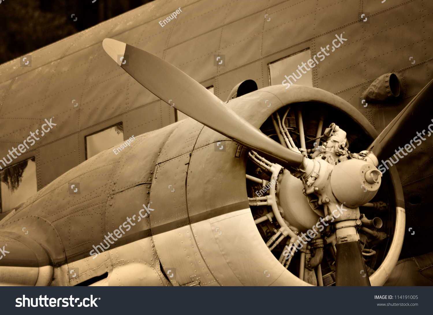 Old Aircraft Engine Vintage Plane Close Up