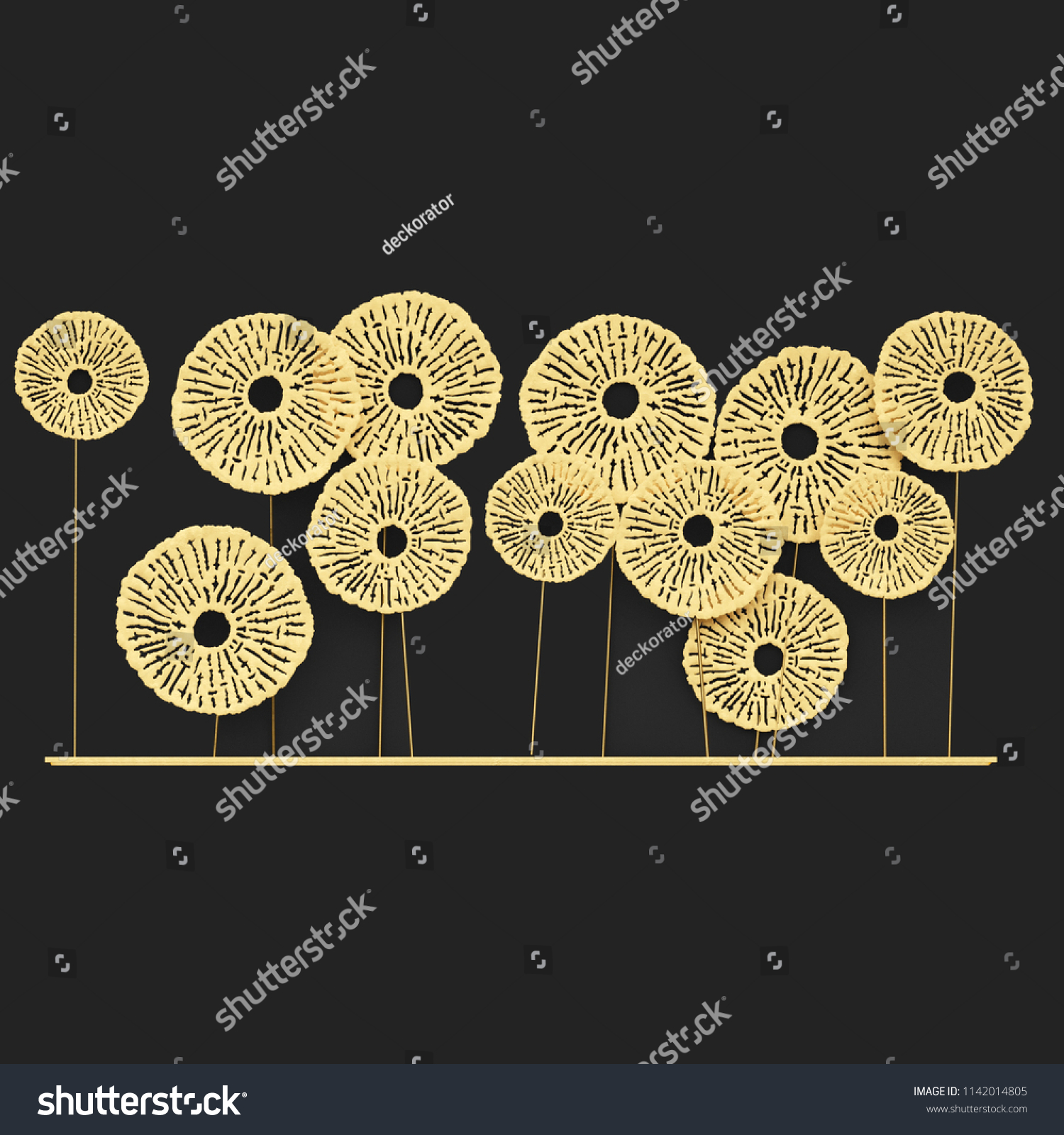 3 D Render Gold Wall Art Metal Stock Illustration 1142014805 ...