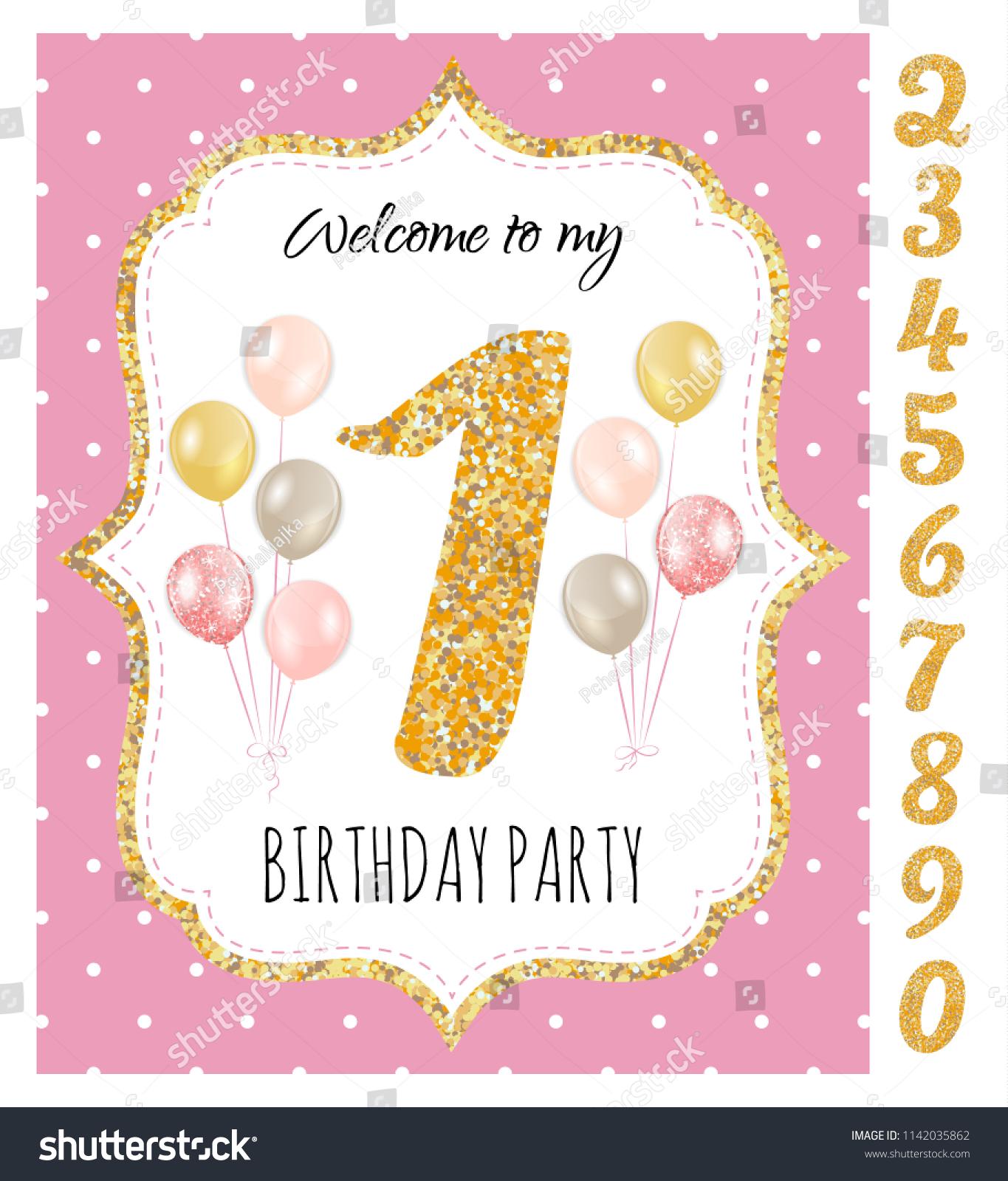 Girls Birthday Invitation Birthday Party Set Stock Vector (Royalty ...