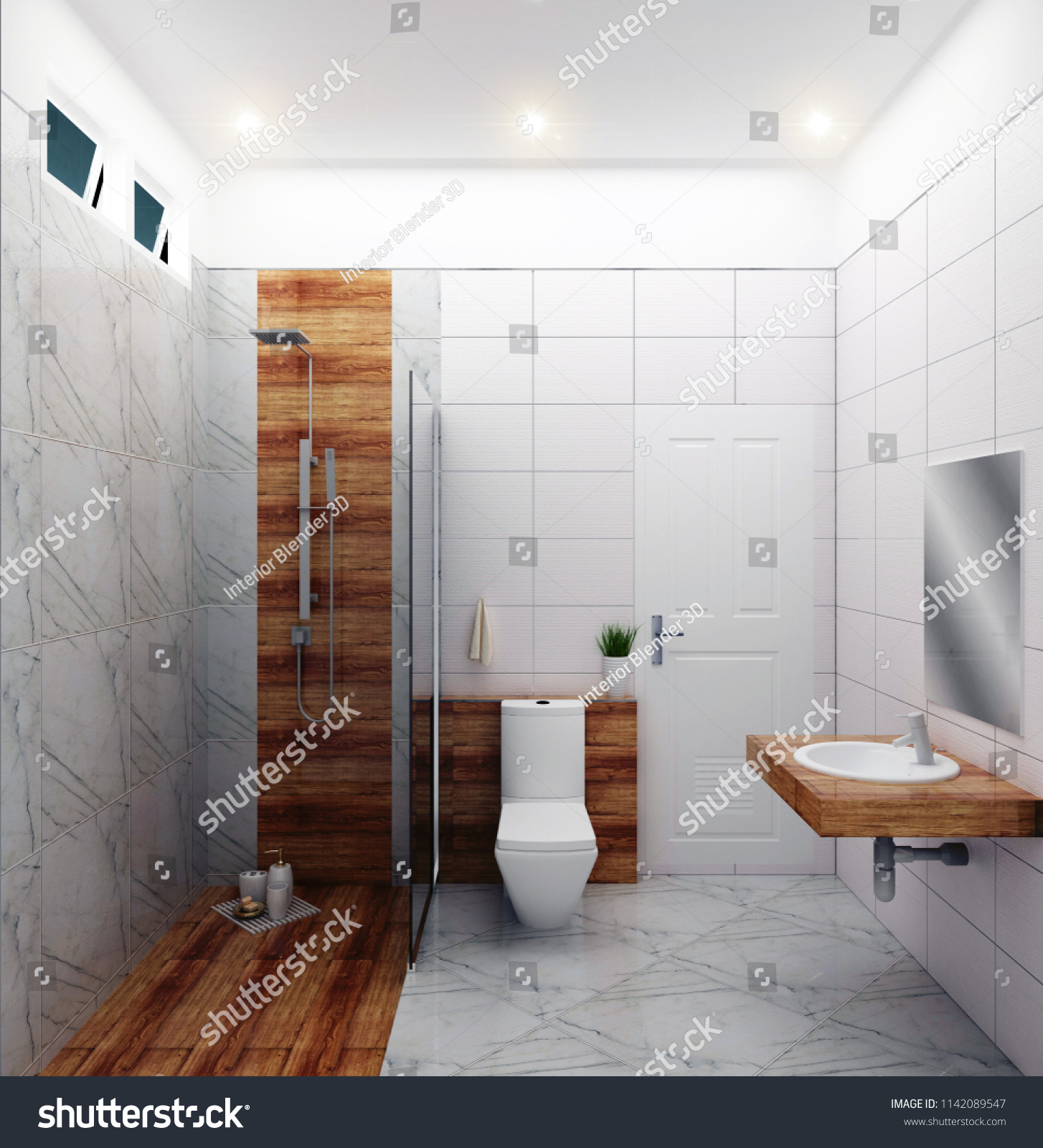 Bright Bathroom Design Tiles White Modern Stock Illustration ...