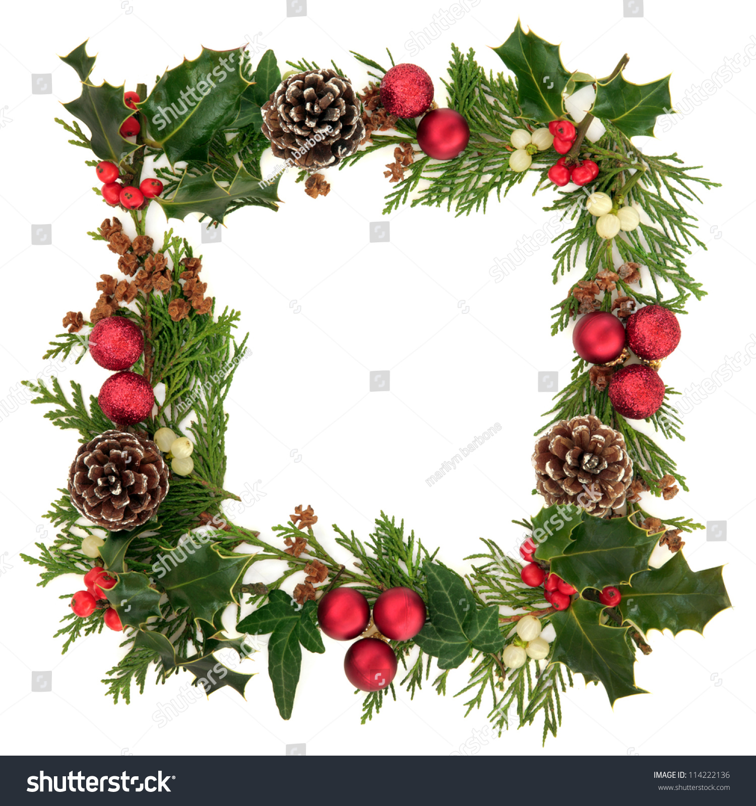 Christmas Decorative Border Of Holly, Ivy, Mistletoe ...