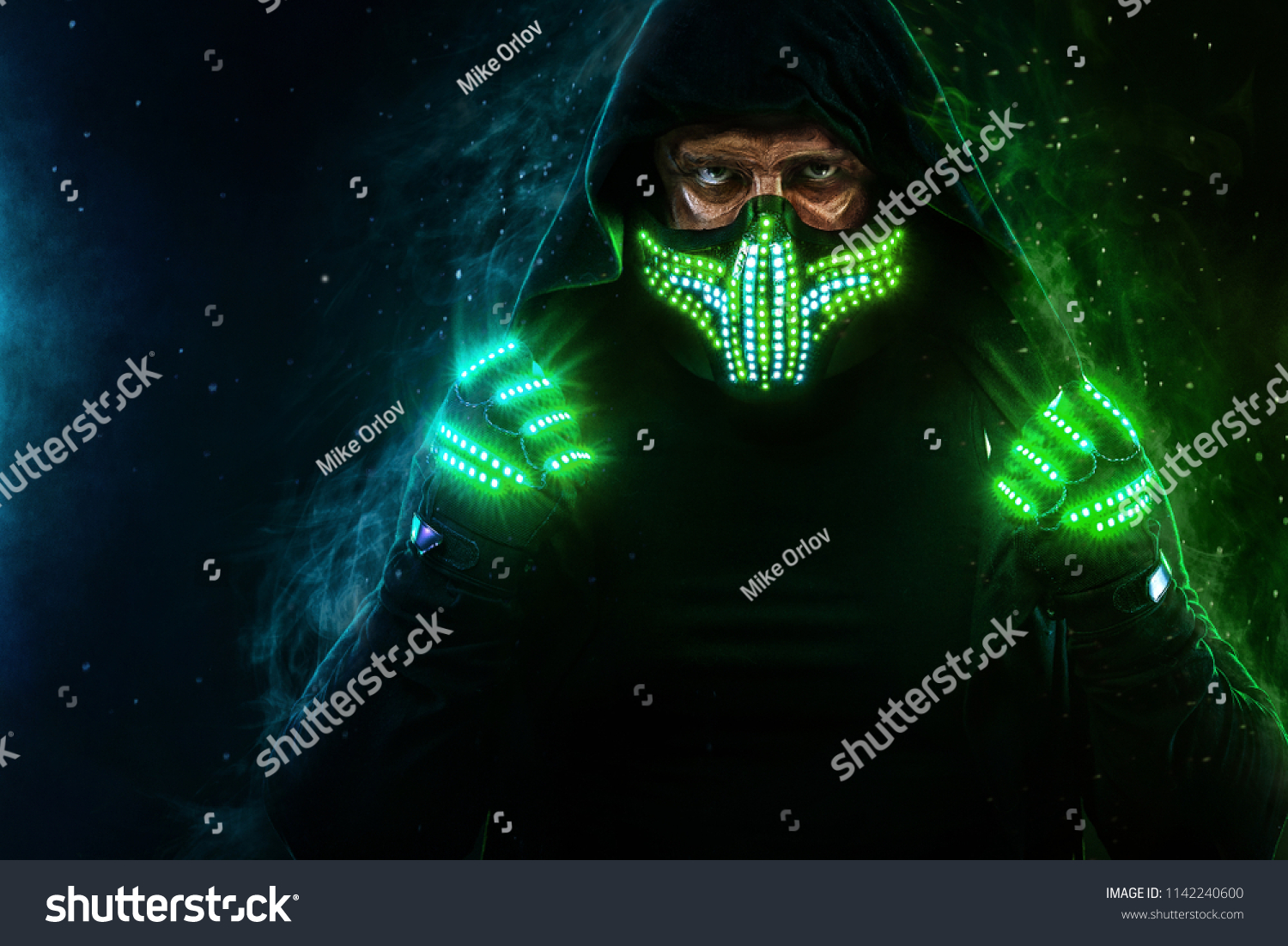 Mysterious Man Black Wear Neon Mask Stock Photo Edit Now